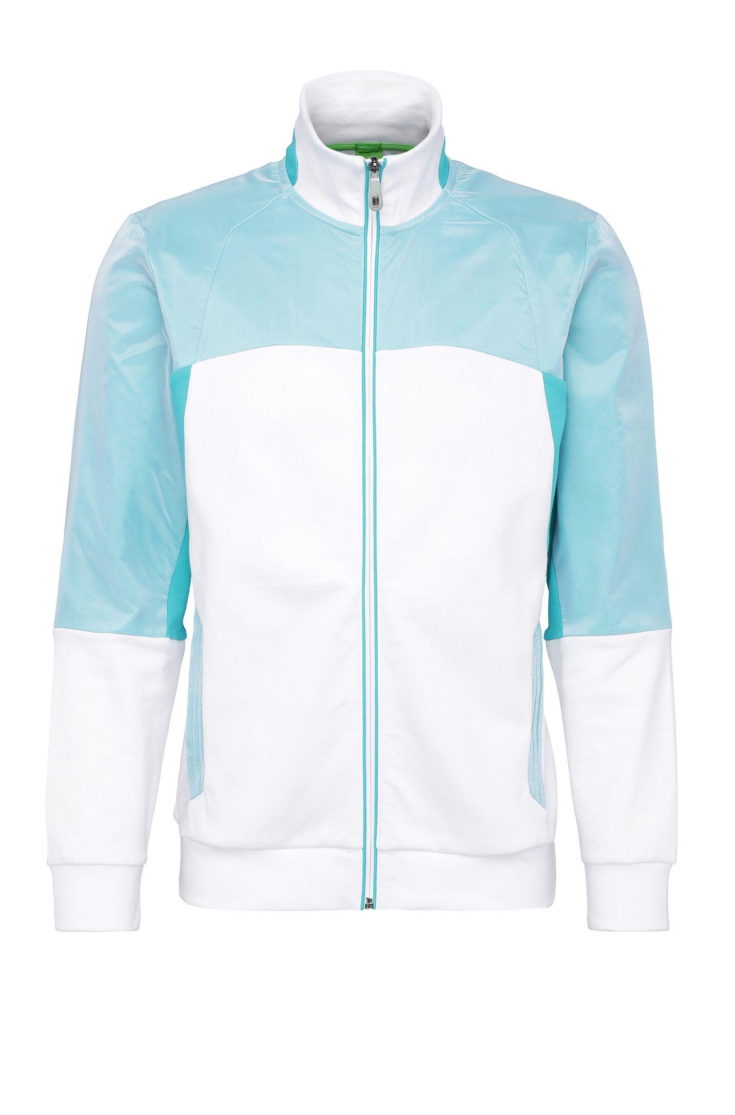 Regular-fit sweatshirt jacket in cotton with contrasting trim: 'Skavon'