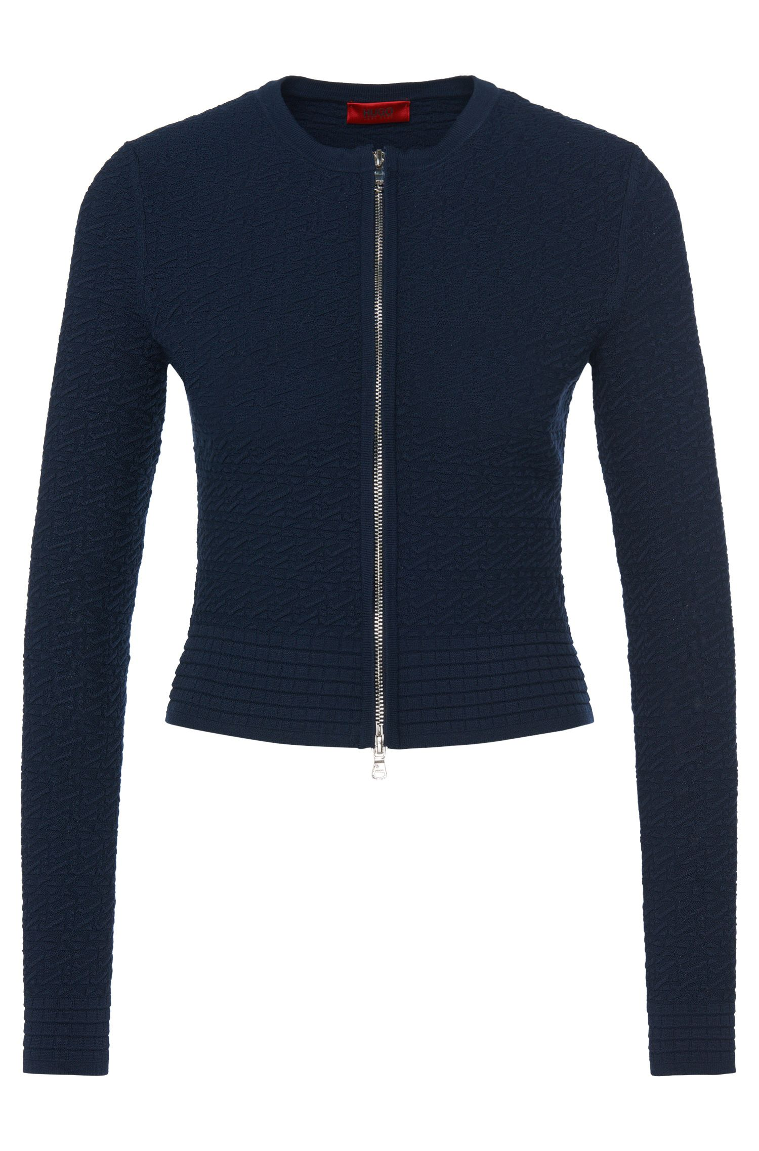 Fitted cardigan in viscose blend with textured pattern: 'Sonngard'