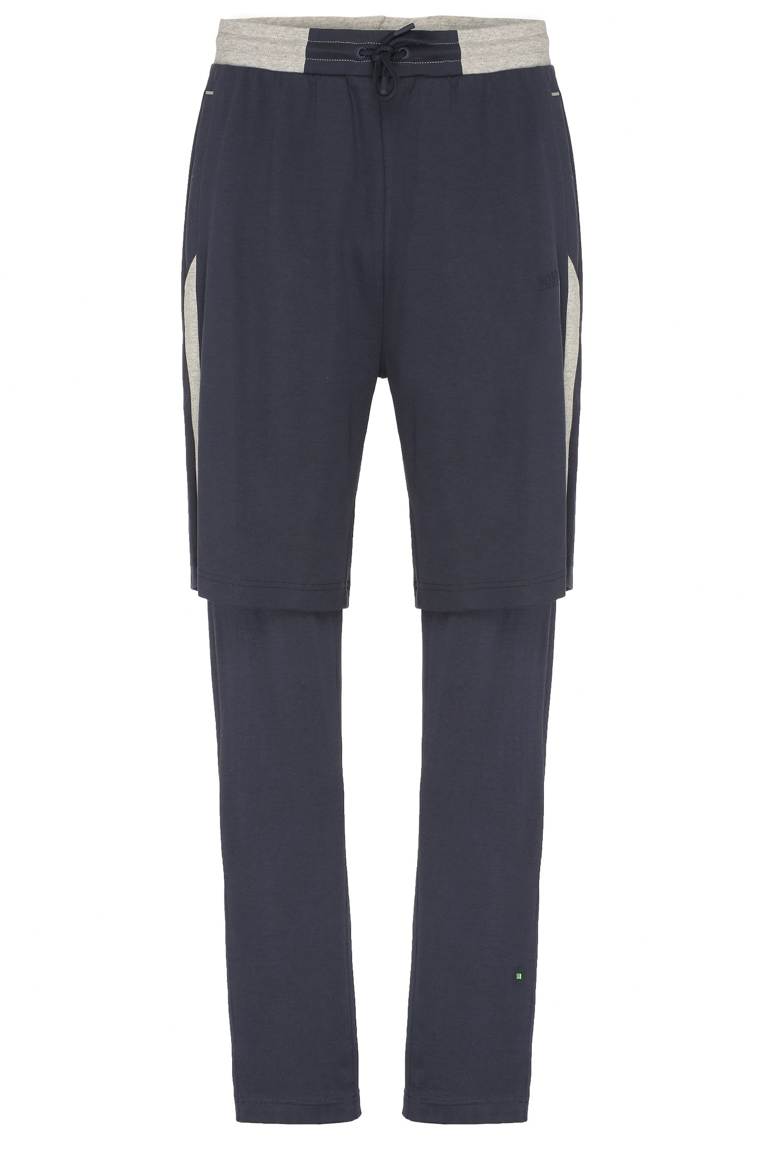 Regular-fit cotton sweat shorts with trousers stitched in: 'Halvar'