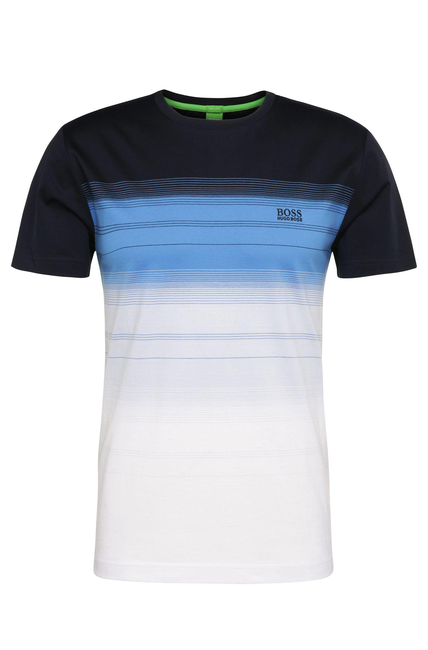 Regular-fit shirt van katoen met streeplook: 'Tee 12'