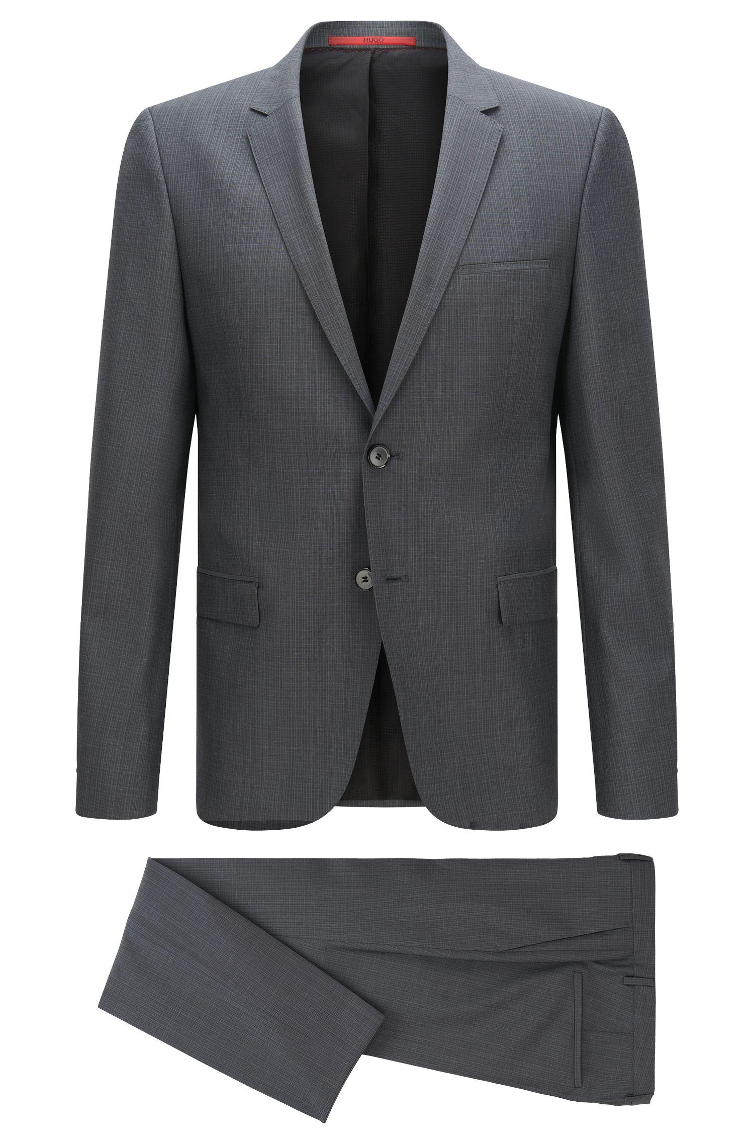 Gemusterter Slim-Fit Anzug aus Schurwolle: 'Arti/Heilo'