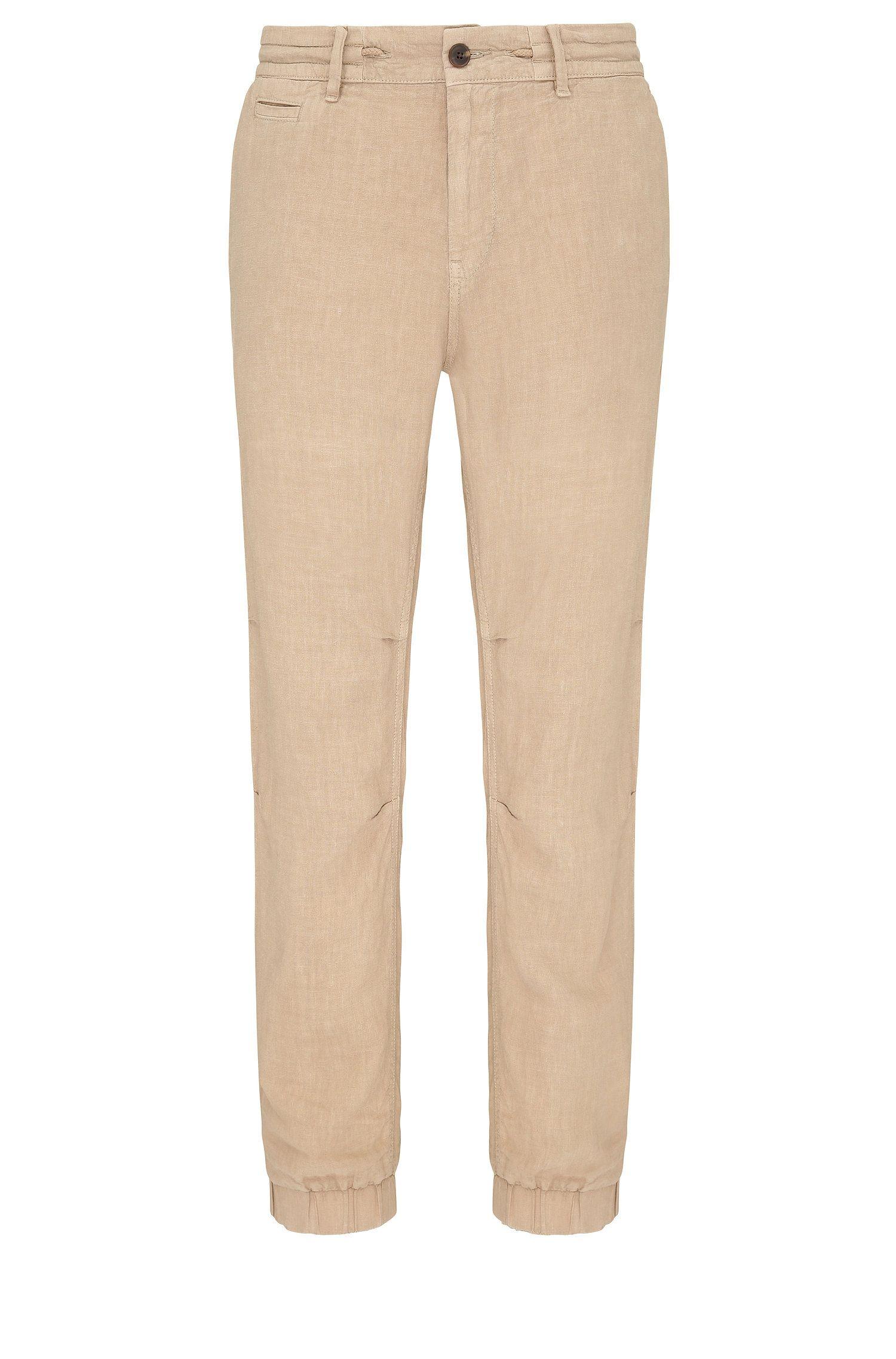 Pantalón tapered fit en lino al estilo de uno de chándal: 'Siman3-D'