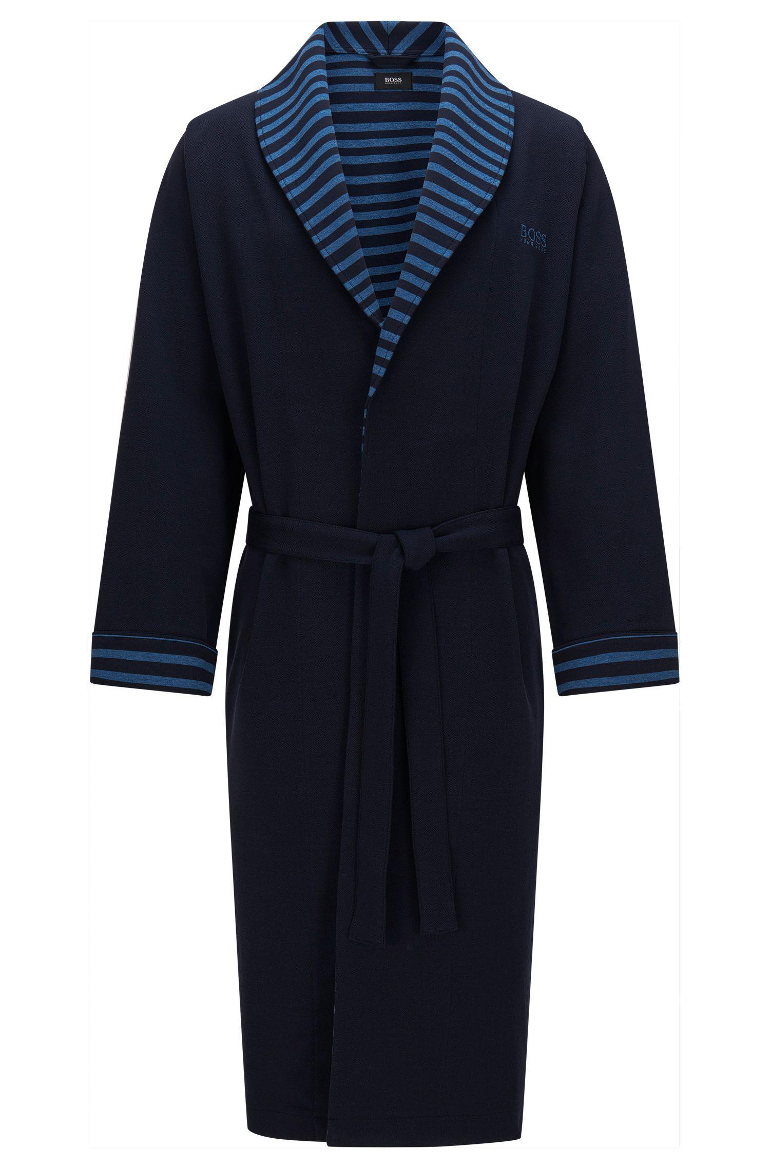 Morgenmantel aus Stretch-Baumwolle mit Streifen-Details: 'Shawl Collar Robe'