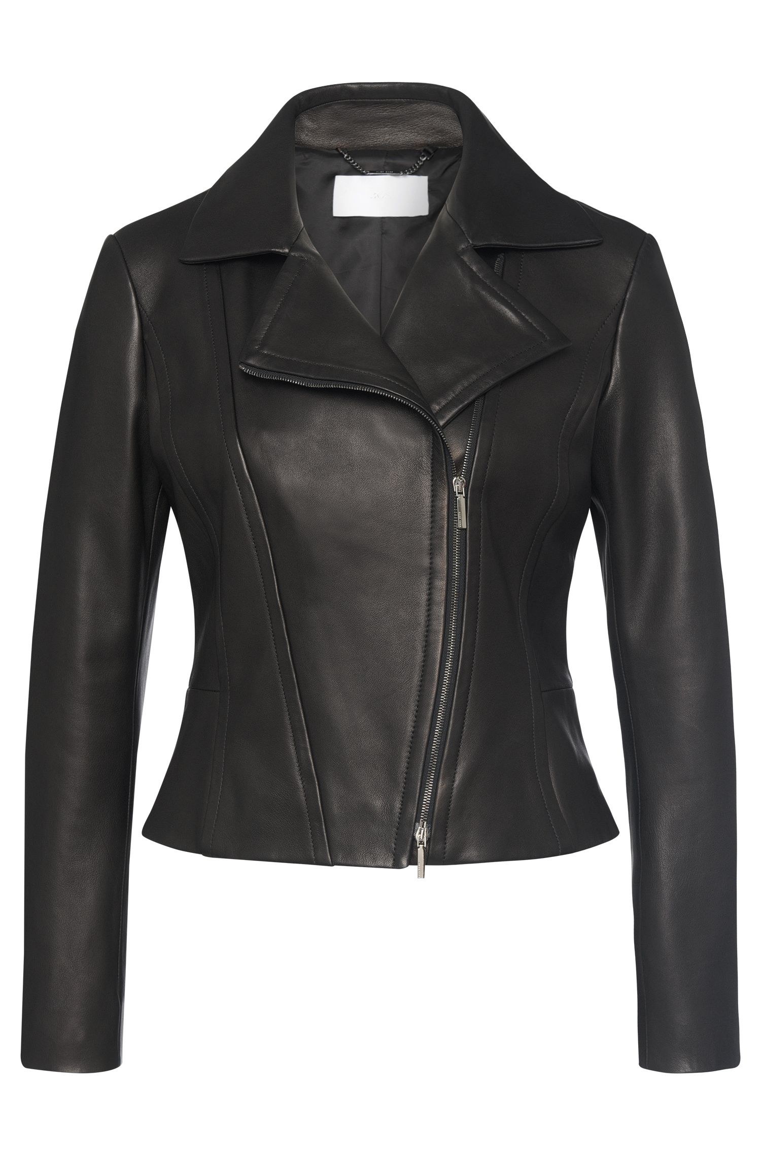 Leather jacket with asymmetric zip and peplum: 'Sandalia'