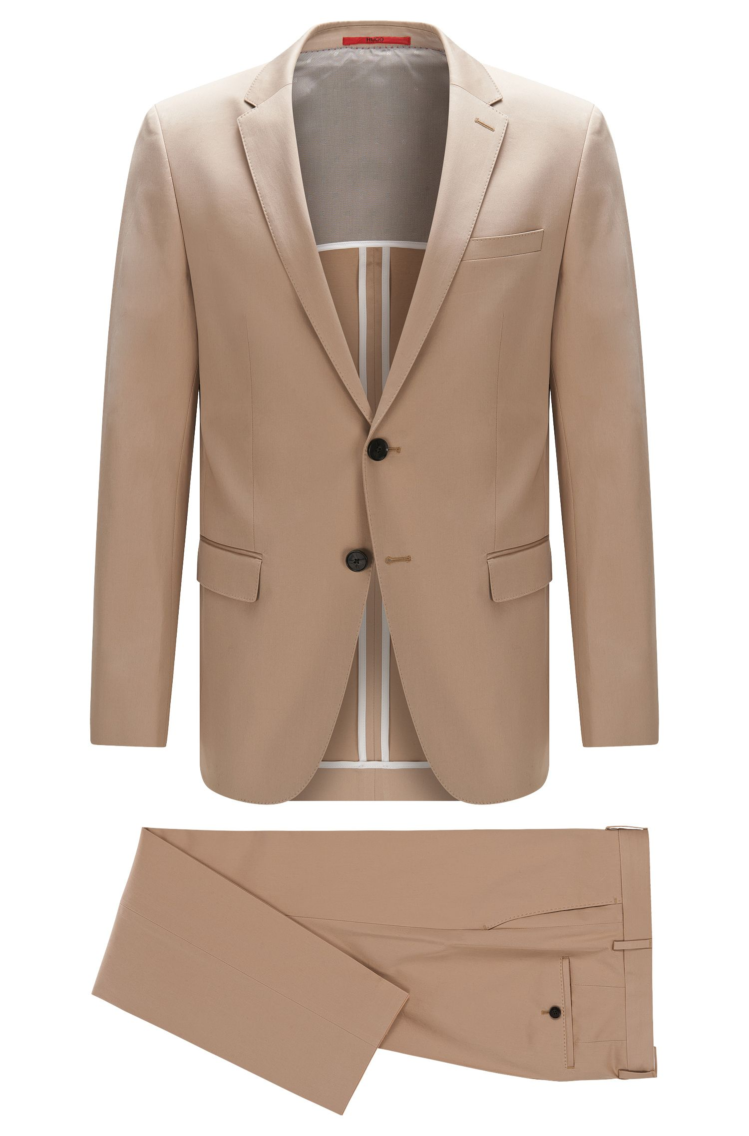 Plain slim-fit suit in stretch cotton: 'C-Harvey/C-Getlin'
