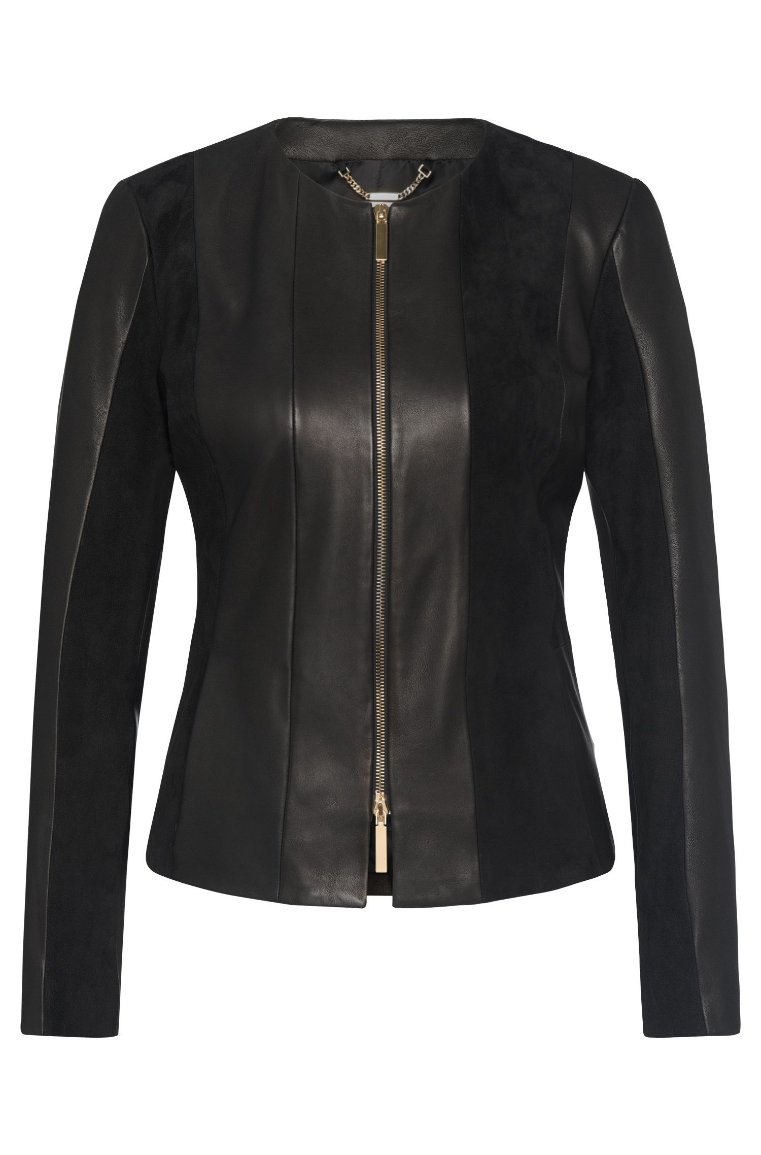 Leather jacket in a texture mix: 'Sapato'