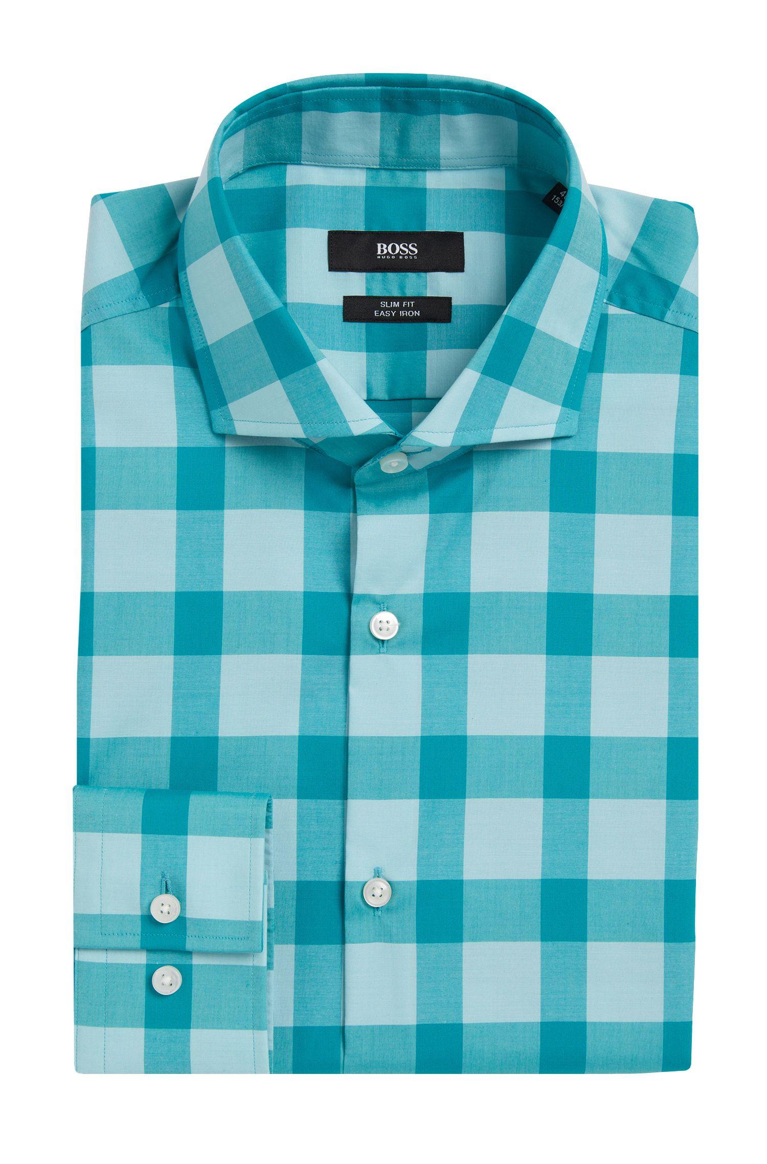 Kariertes Slim-Fit Hemd aus bügelleichter Baumwolle: 'Jason'