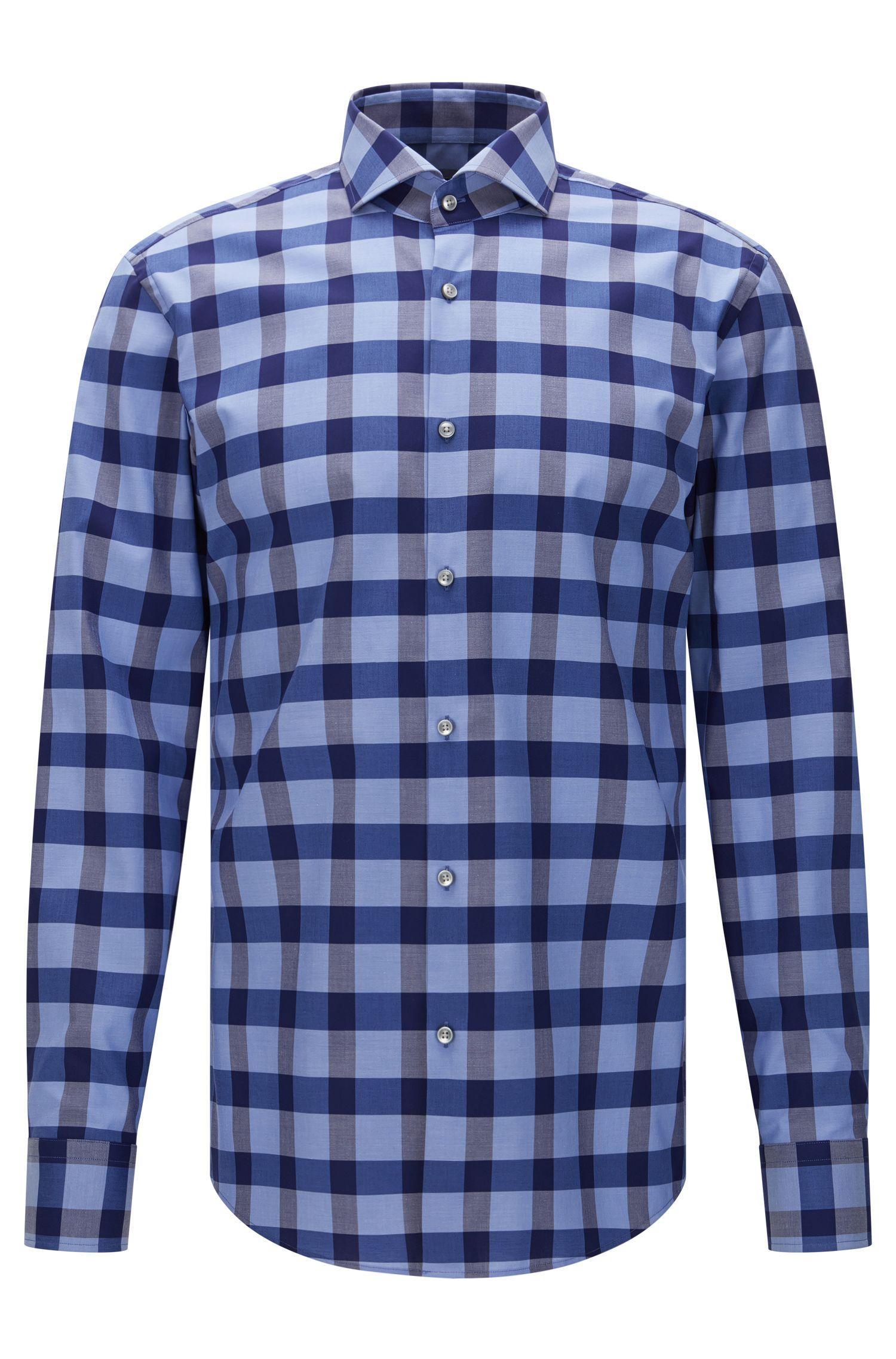 Geruit slim-fit overhemd van BOSS, van gemakkelijk te strijken katoen: 'Jason'