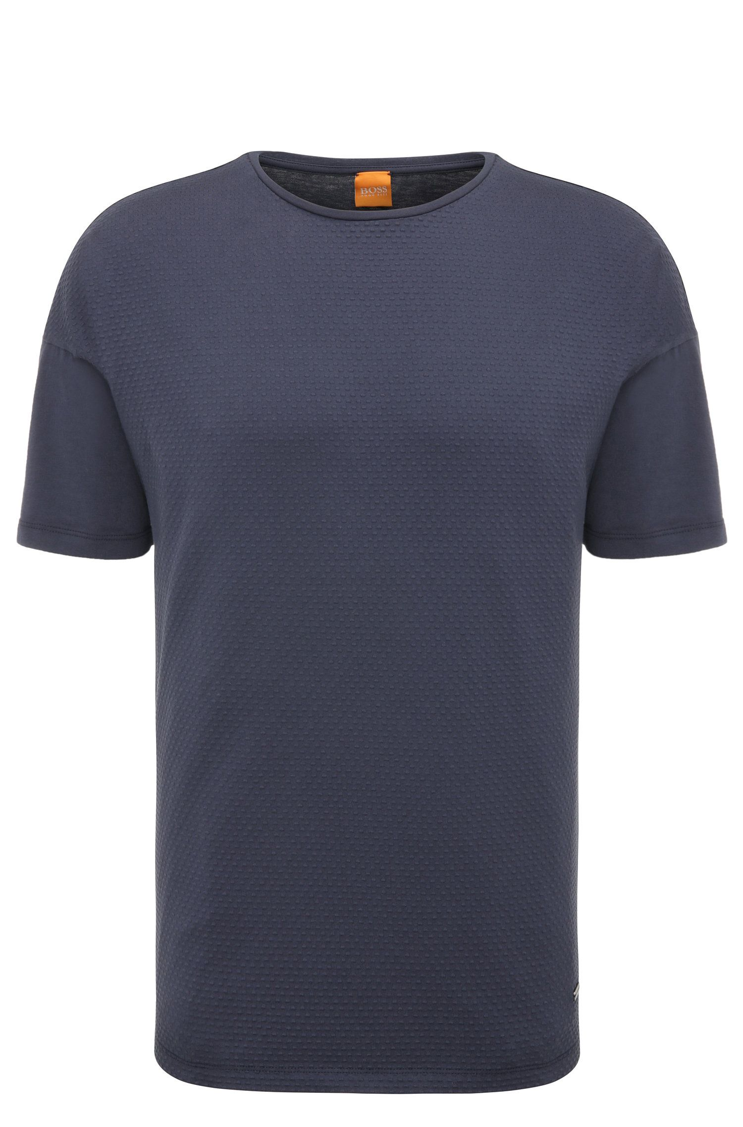 Relaxed-fit t-shirt in stretch cotton in a texture mix: 'Teesy'
