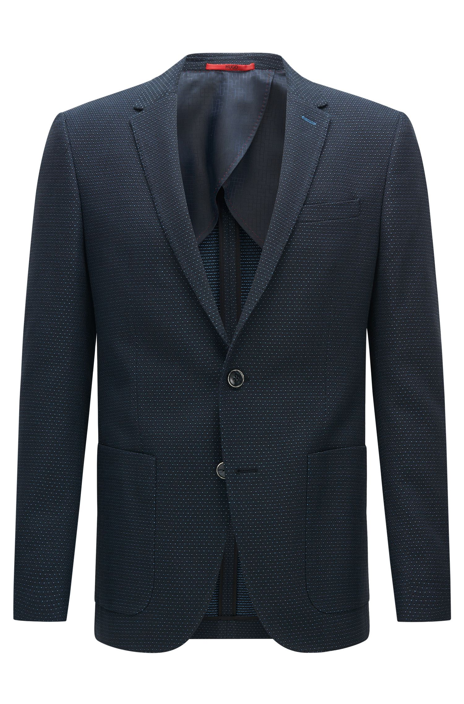 Slim-fit cotton jacket in a fine polka-dot pattern: 'C-Hamilton1'
