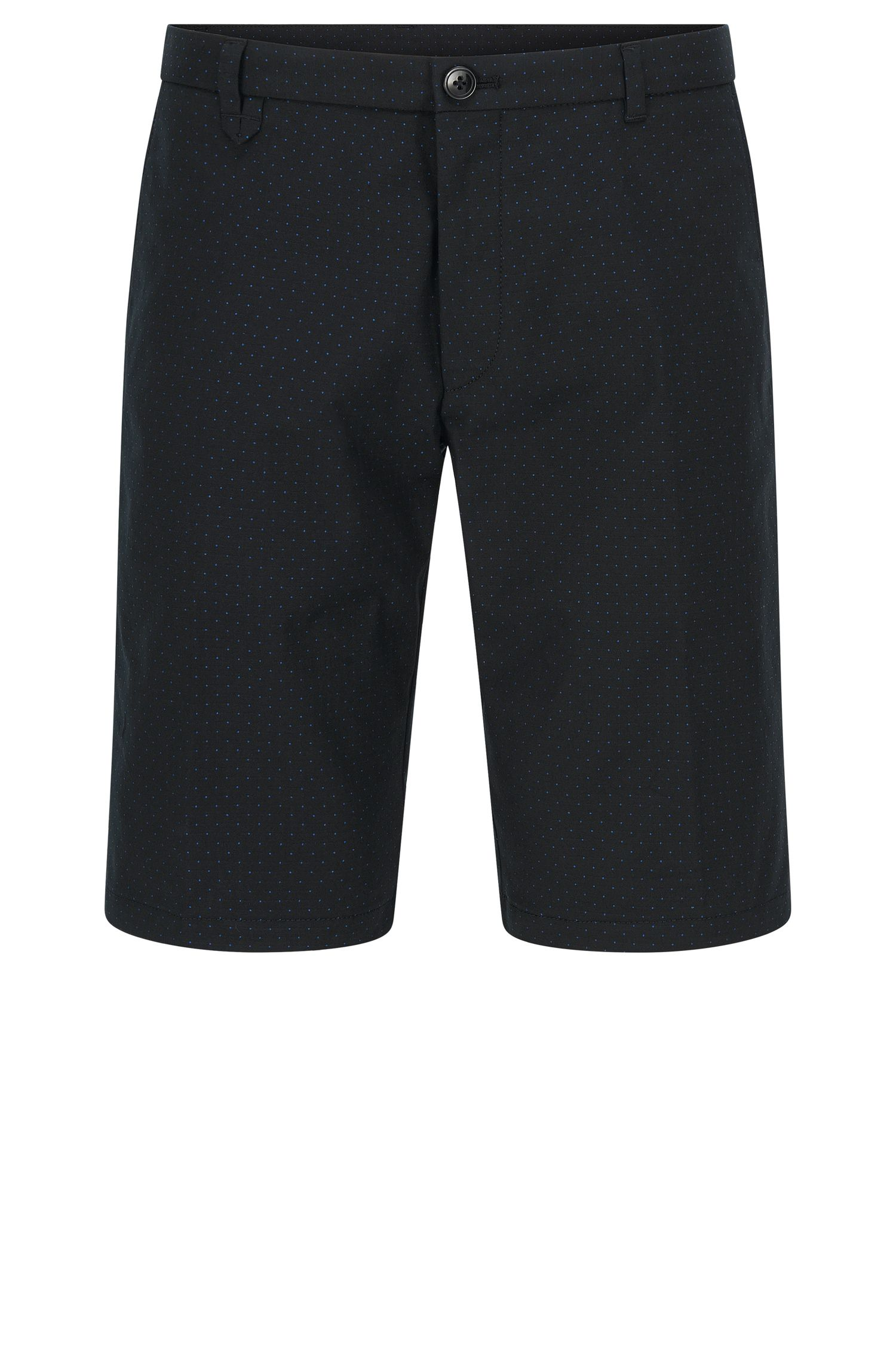 Polka-dot patterned slim-fit shorts in stretch cotton blend: 'Hano3'