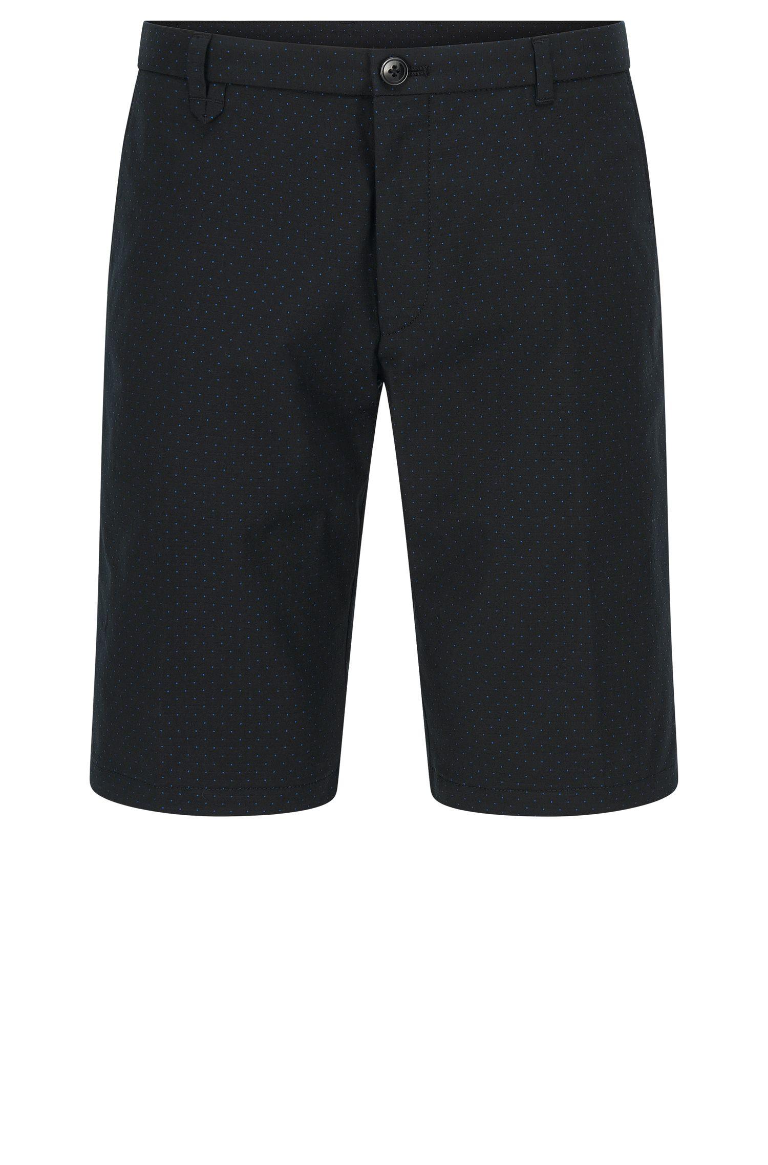 Gepunktete Slim-Fit Shorts aus elastischem Baumwoll-Mix: 'Hano3'