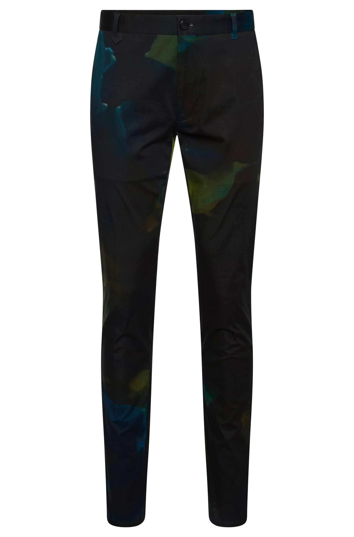 Patterned slim-fit trousers in stretch cotton: 'Heldor2'