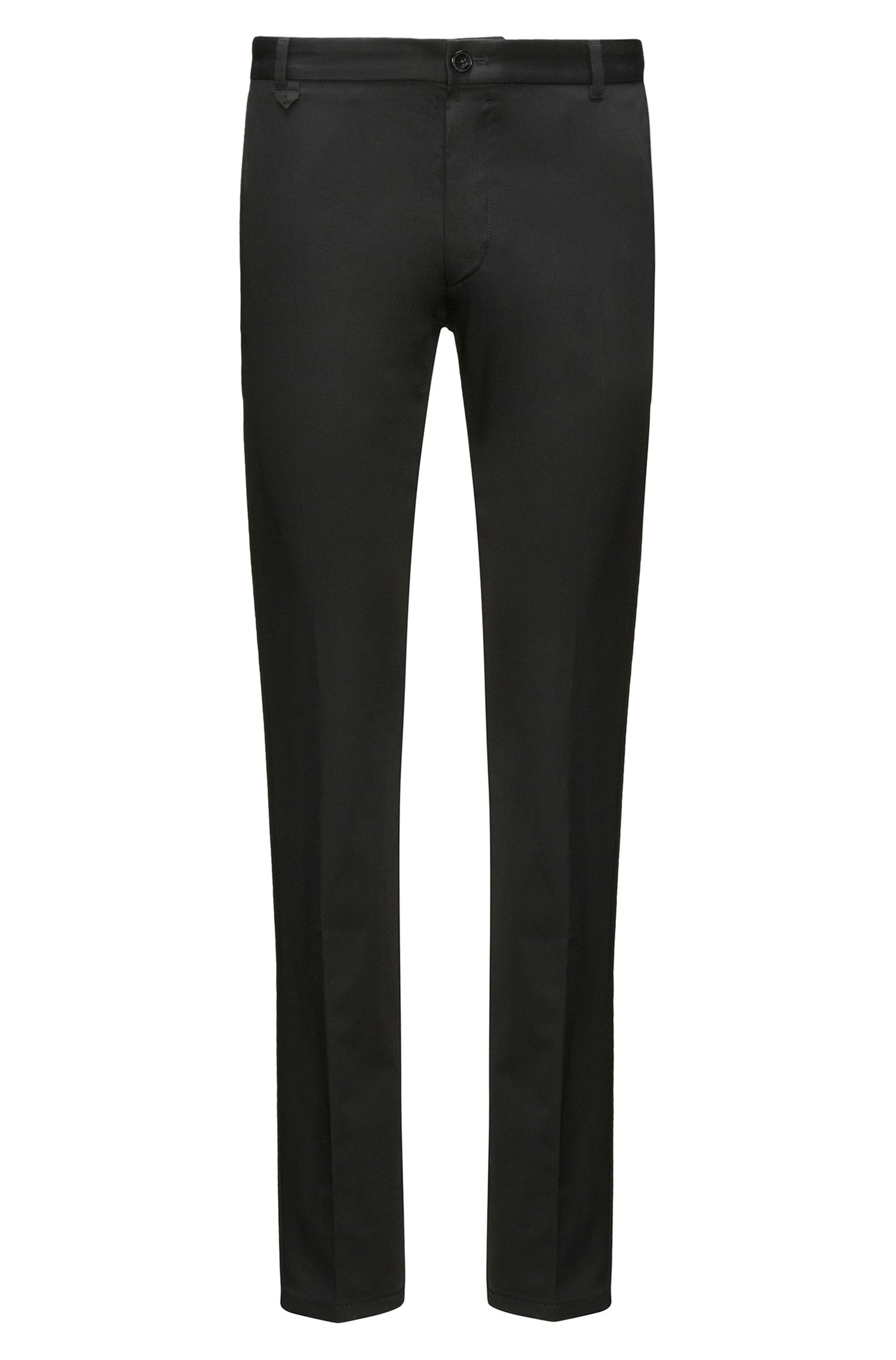 Plain slim-fit trousers in stretch cotton: 'Heldor2'