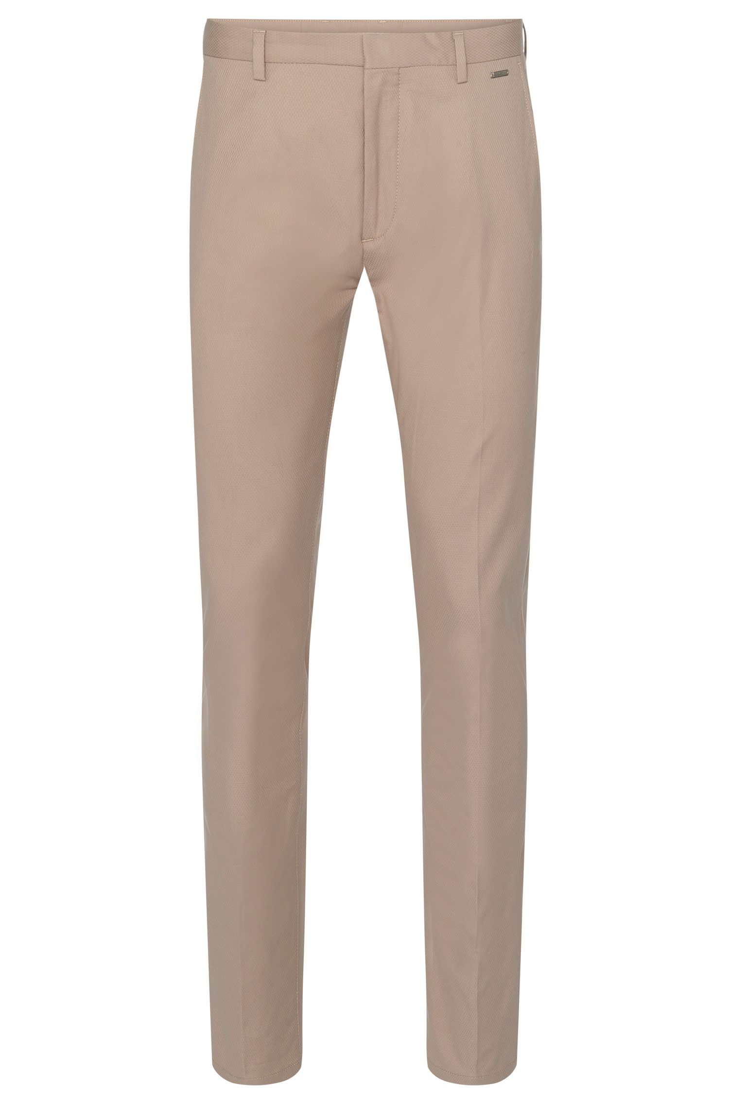Textured regular-fit trousers in stretchy cotton blend: 'Helgo1'