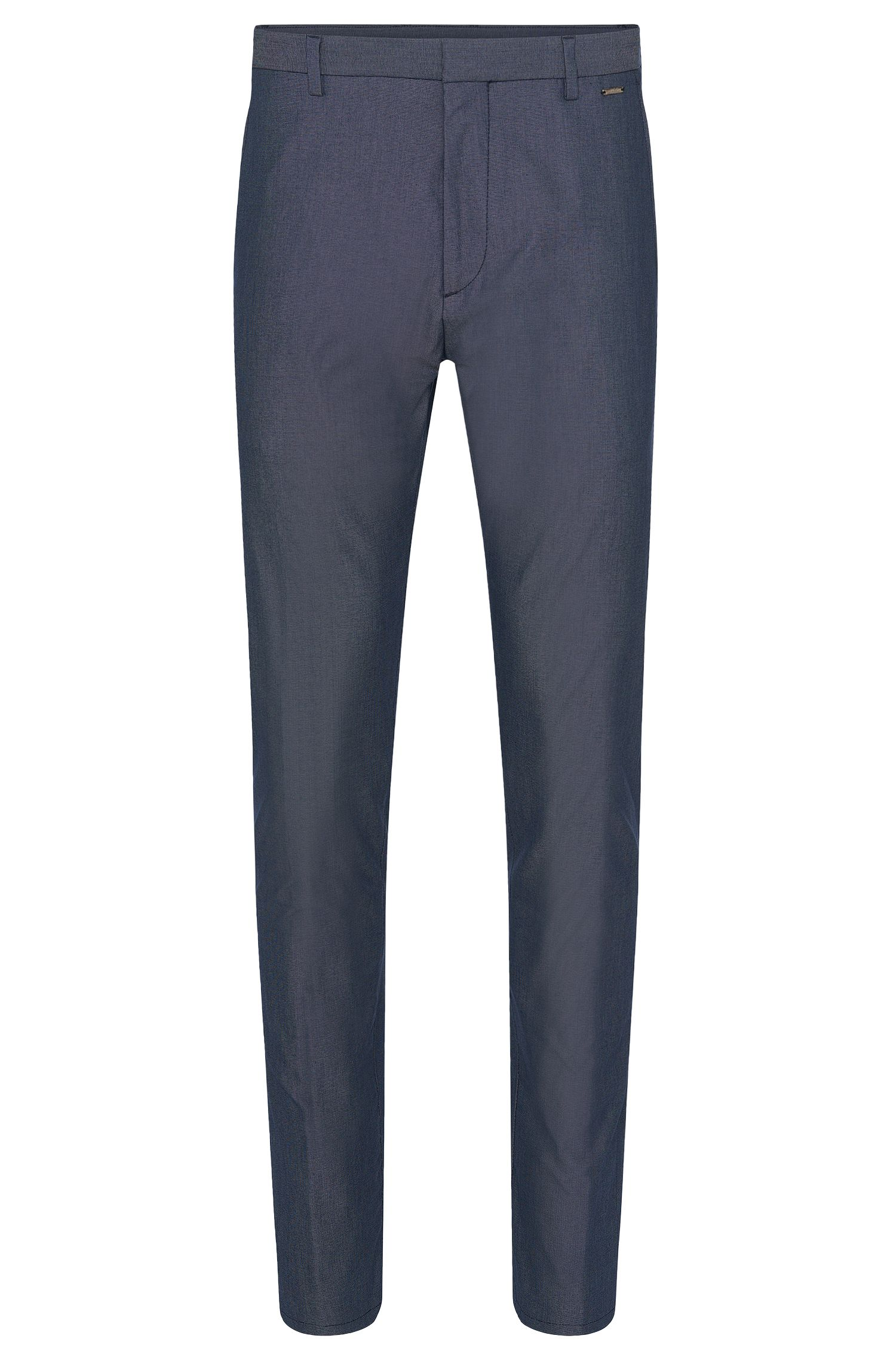Finely patterned regular-fit trousers in stretch cotton blend: 'Helgo1'