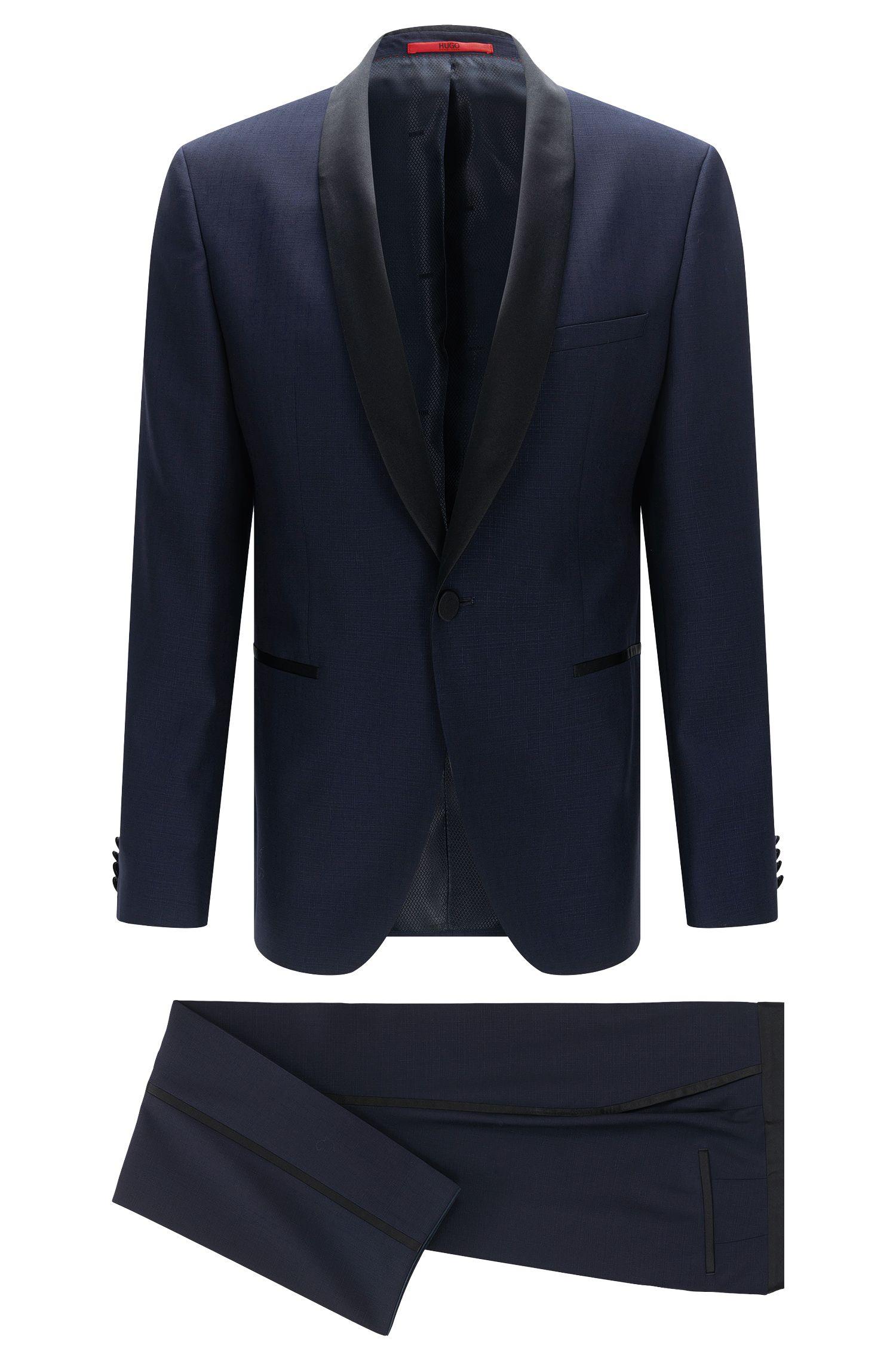 Regular-fit dinner suit in new wool with contrasting details: 'C-John/C-Saimen'