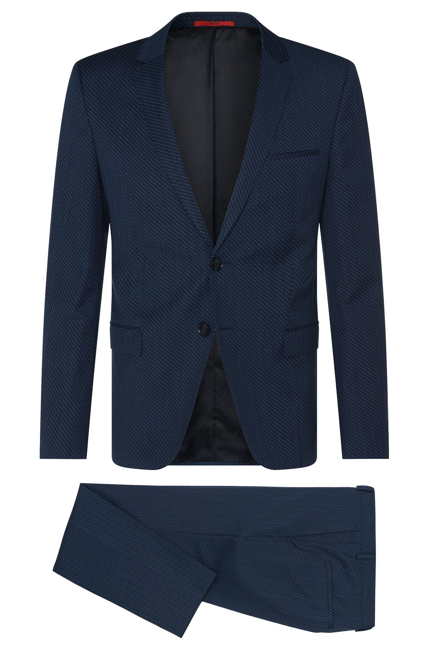 Gemusterter Slim-Fit Anzug aus Schurwoll-Mix mit Baumwolle: 'Arti/Heilon'