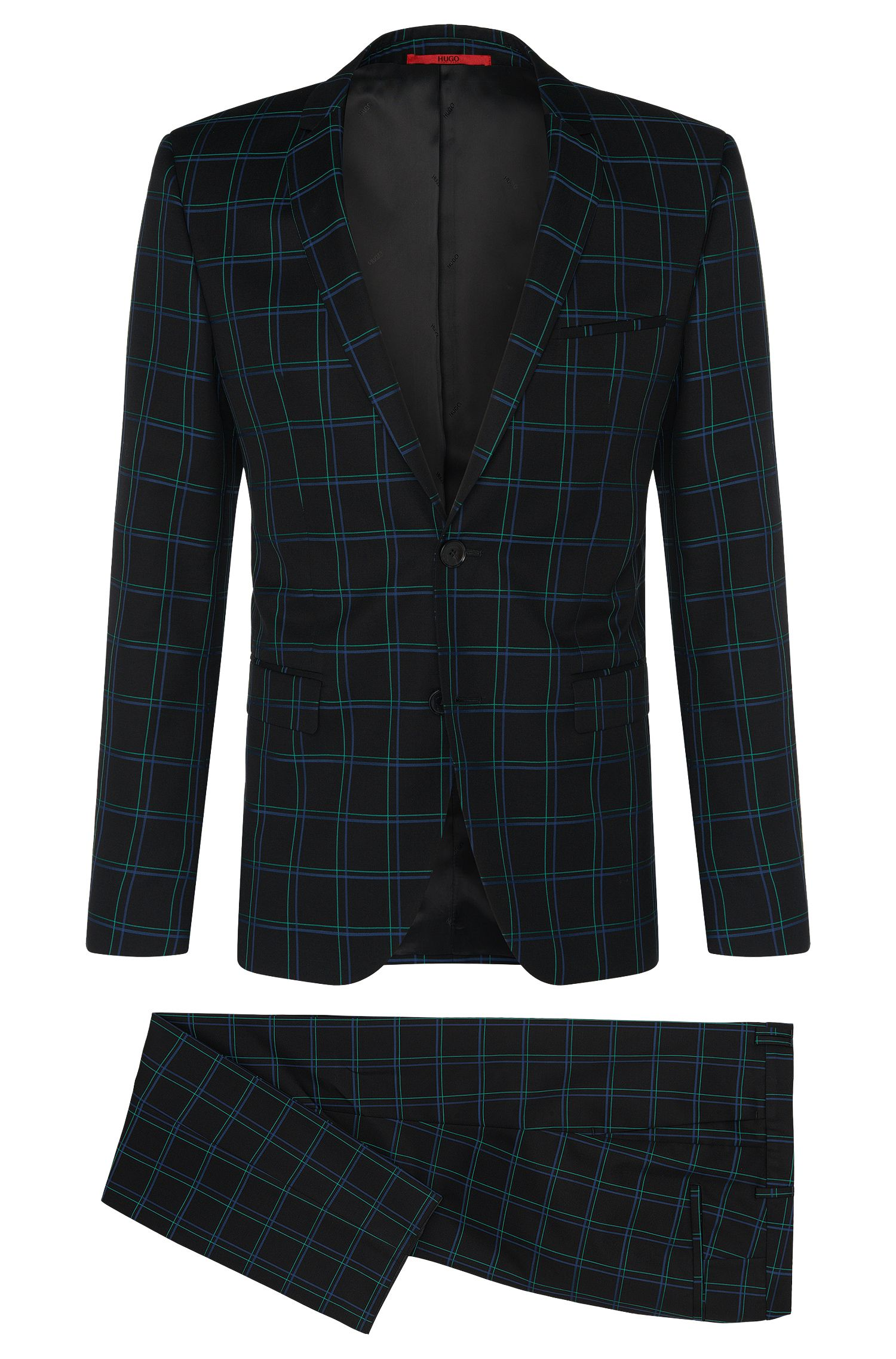 Checked extra slim-fit suit in new-wool blend with cotton: 'Adris4/Heilon'