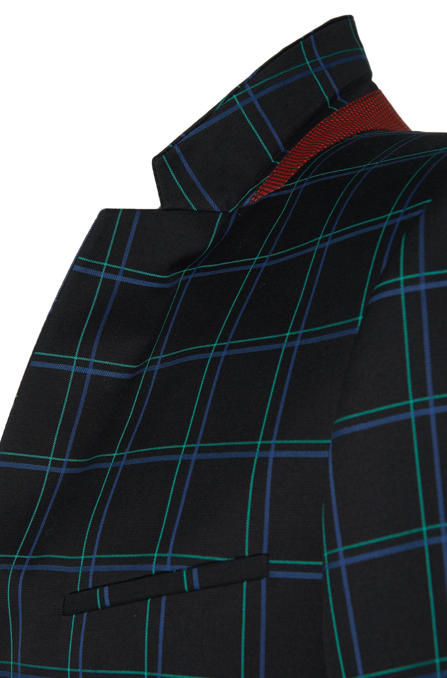 Costume Extra Slim Fit à carreaux en laine vierge mélangée à du coton: «Adris4/Heilon»