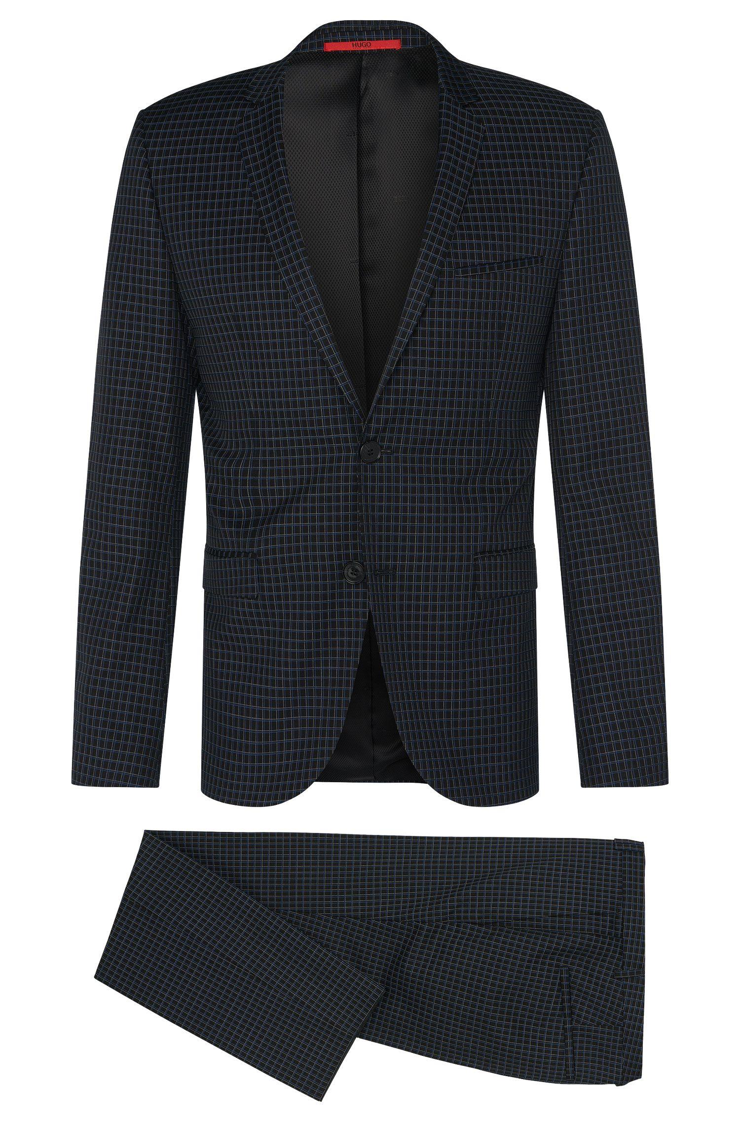 Karierter Extra Slim-Fit Anzug aus Schurwoll-Mix mit Baumwolle: 'Adris4/Heilon'