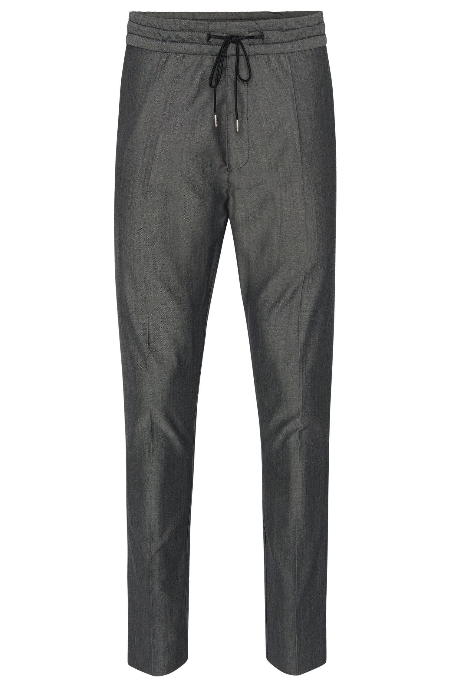 Pantalon chiné Tapered Fit en laine vierge mélangée, avec du coton: «Himesh4»