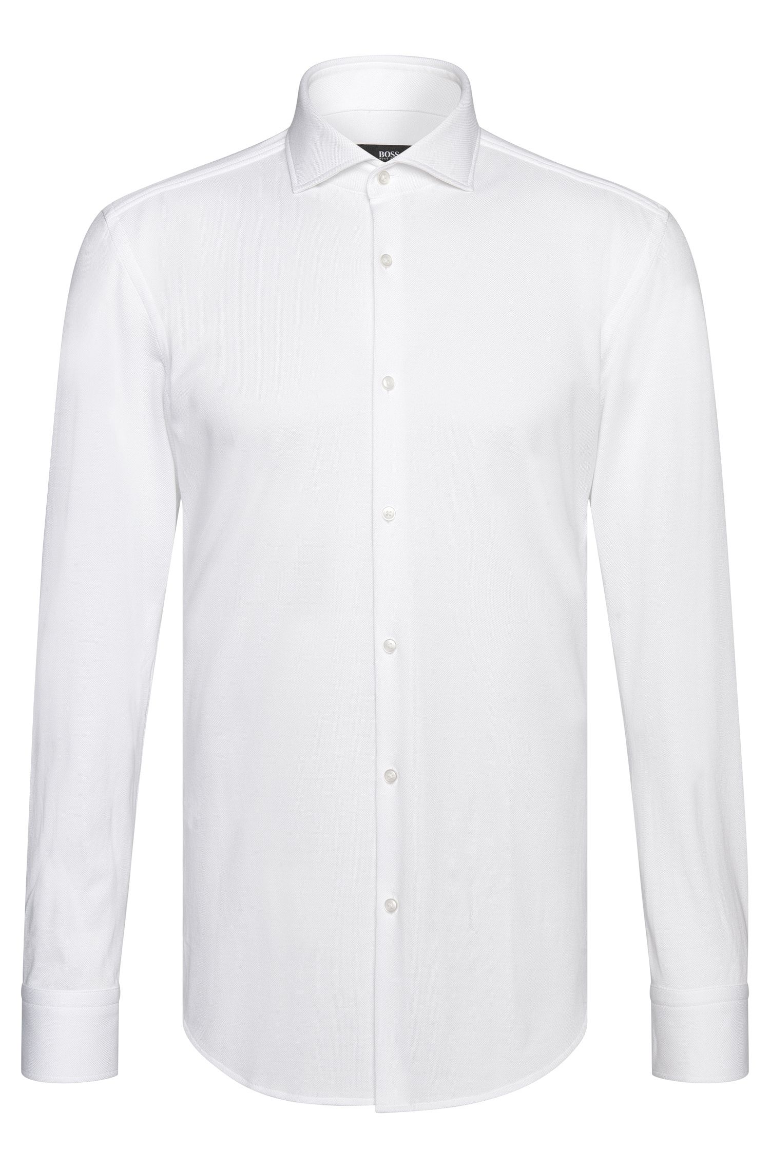 Finely textured slim-fit shirt in cotton: 'Jason'