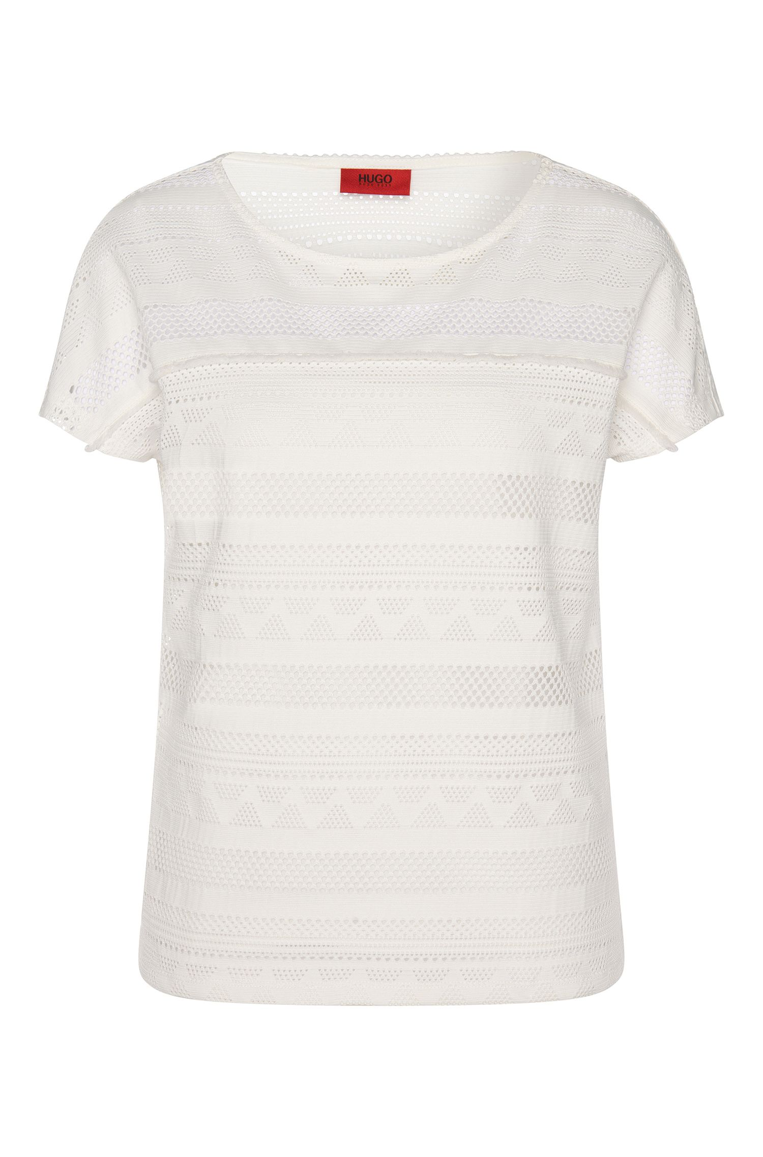 T-shirt with cutwork embroidery: 'Dellace'