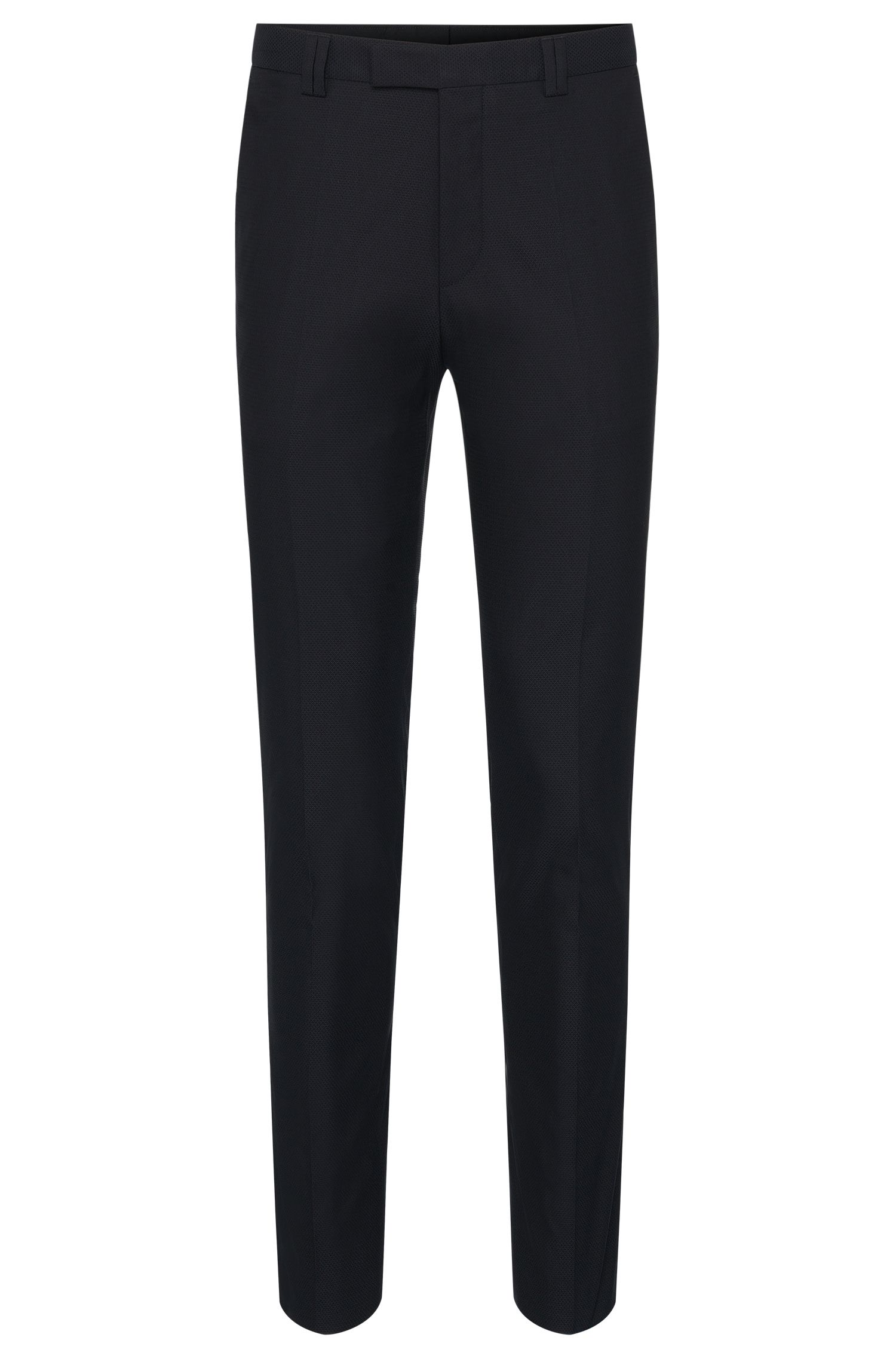 Textured slim-fit trousers in stretchy cotton blend: 'Heilon'