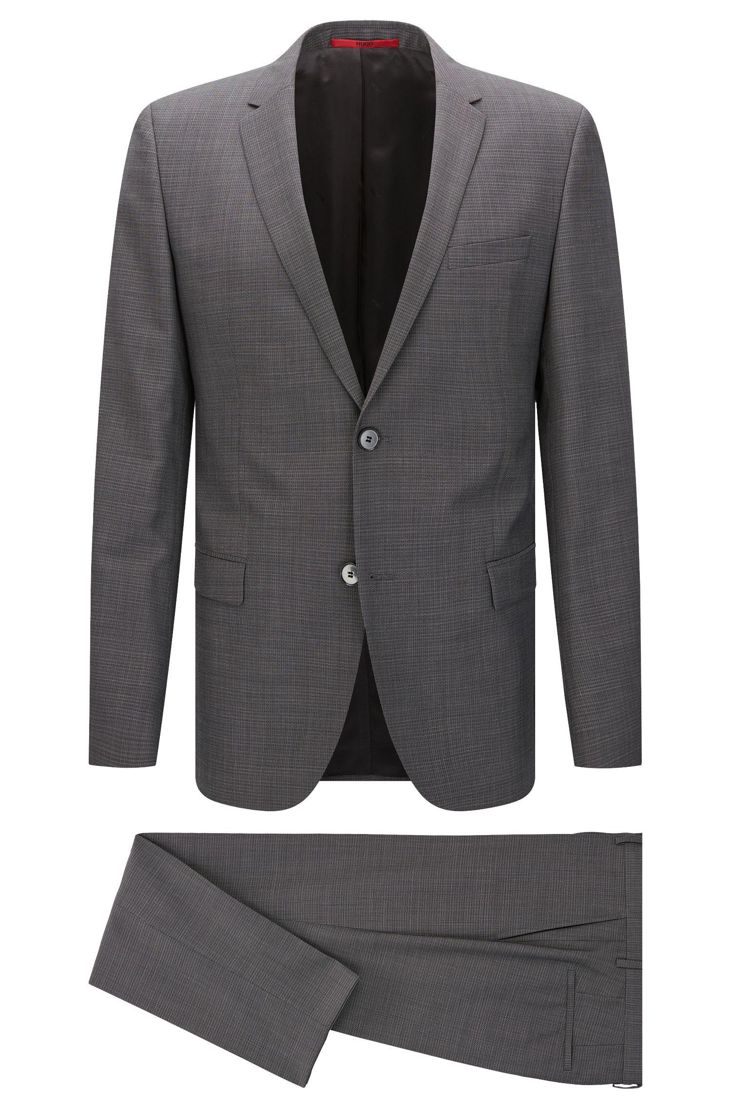 Finely patterned regular-fit suit in new wool: 'Anlon/Hets'