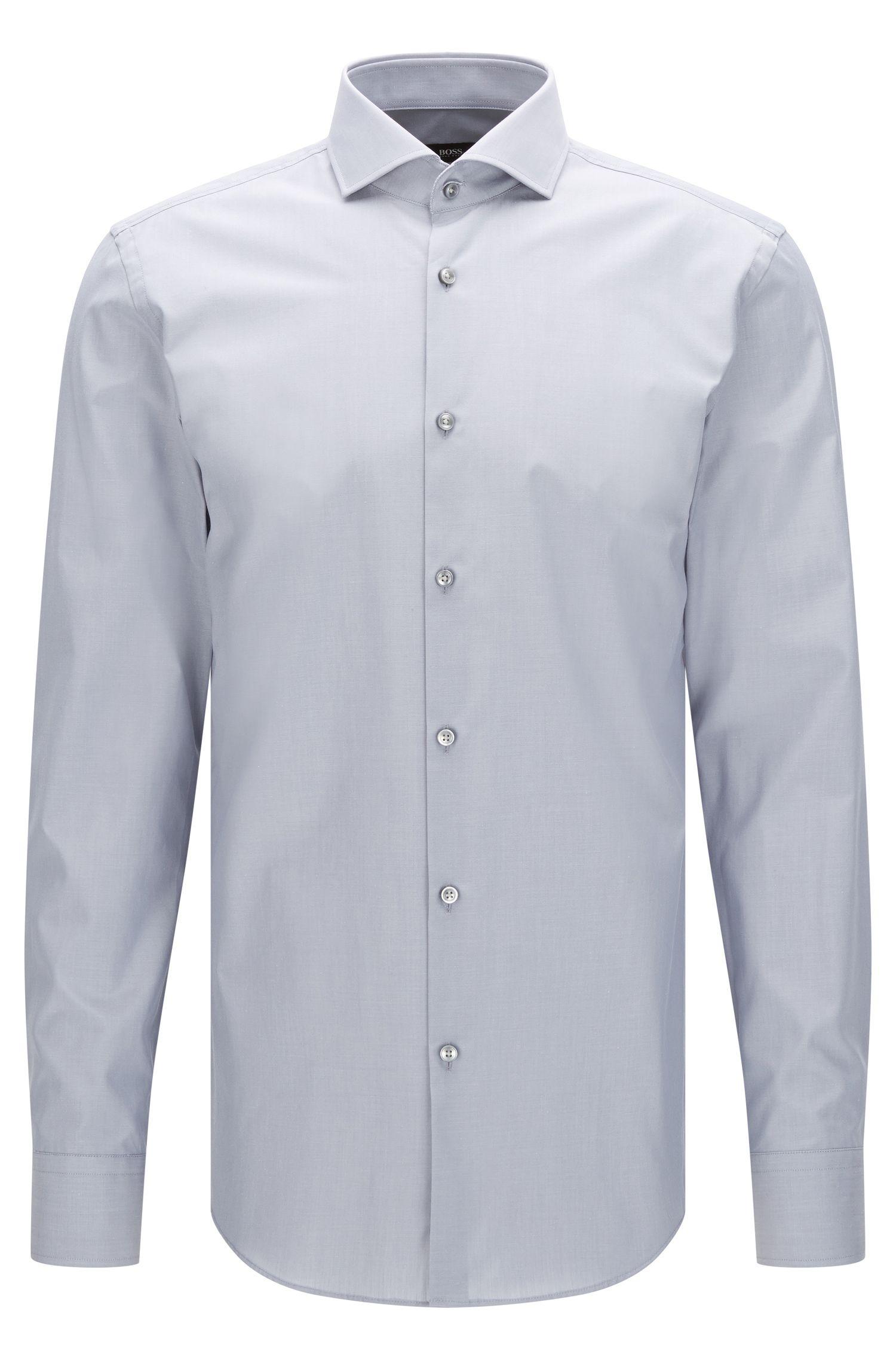 Plain slim-fit cotton shirt: 'Jason'