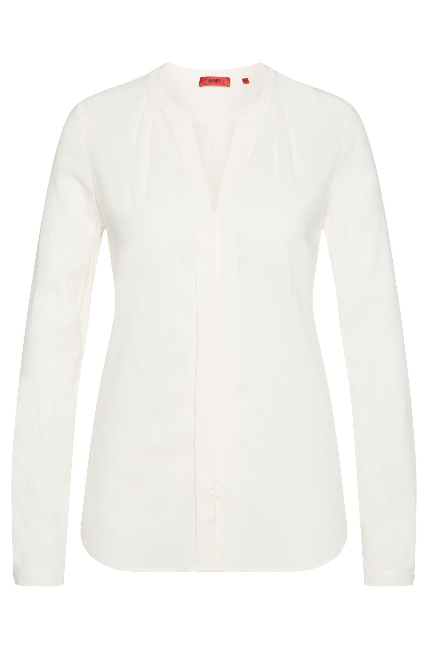 Regular-fit blouse van elastische viscose met plooidetails: 'Enet'