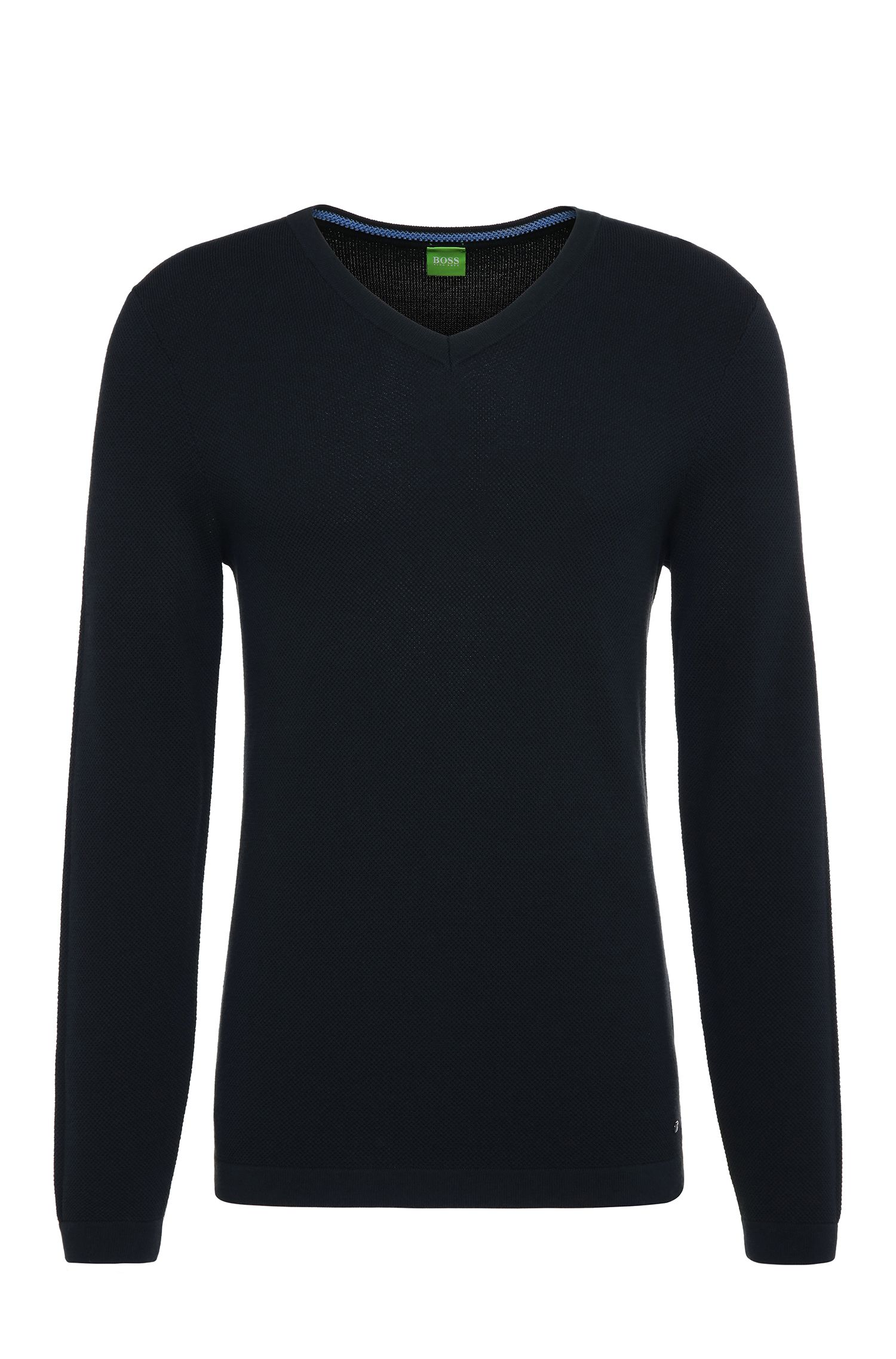 Knitted slim-fit sweater in cotton: 'Vayn'