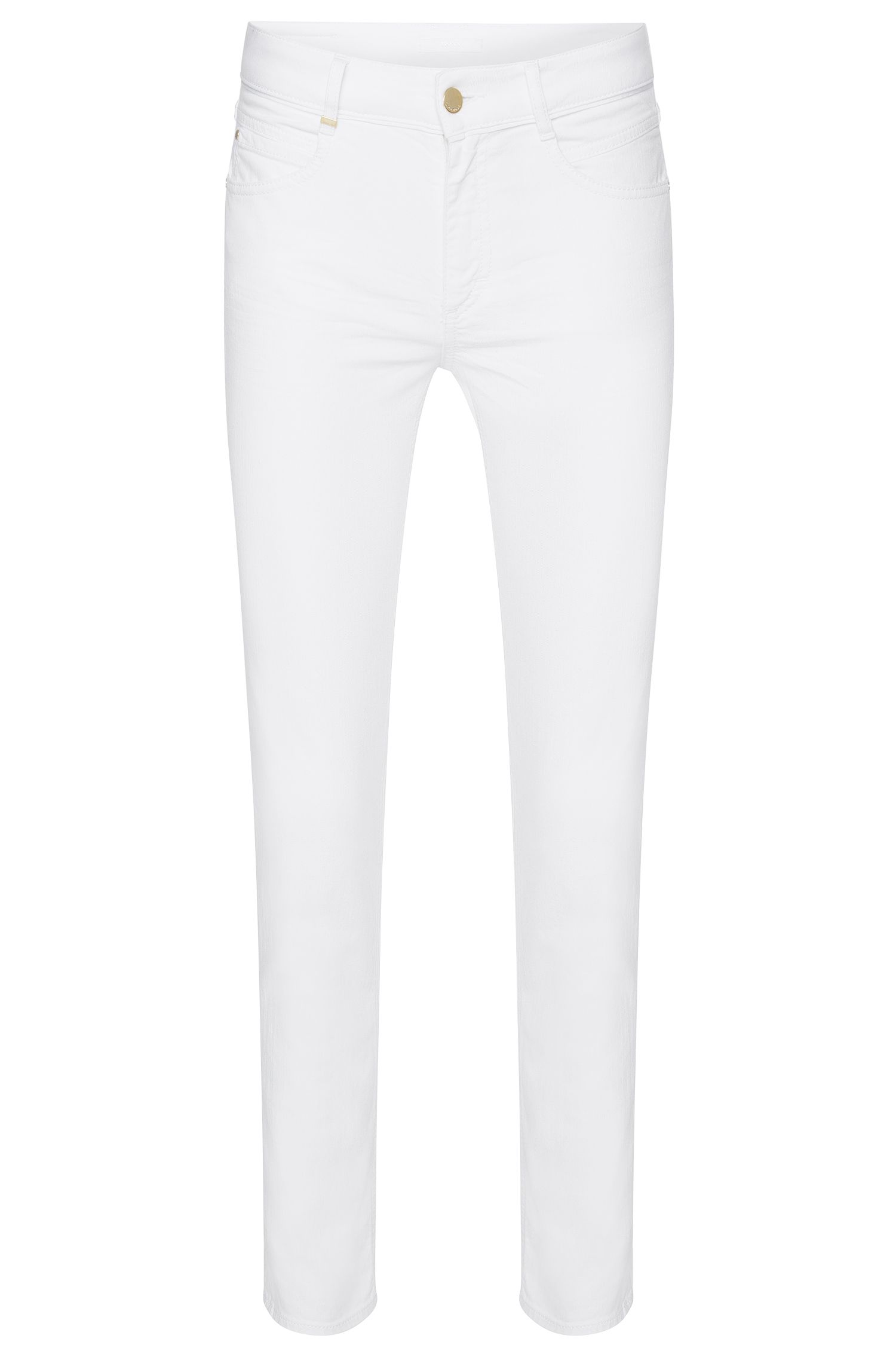 Regular-fit jeans van stretchkatoen in cropped-lengte: 'Nelin Tape'