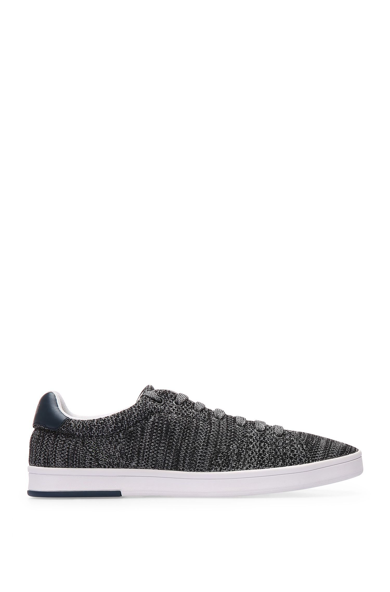 Trainers in knitted-effect textile with leather trim: 'Rayadv_Tenn_sykn'