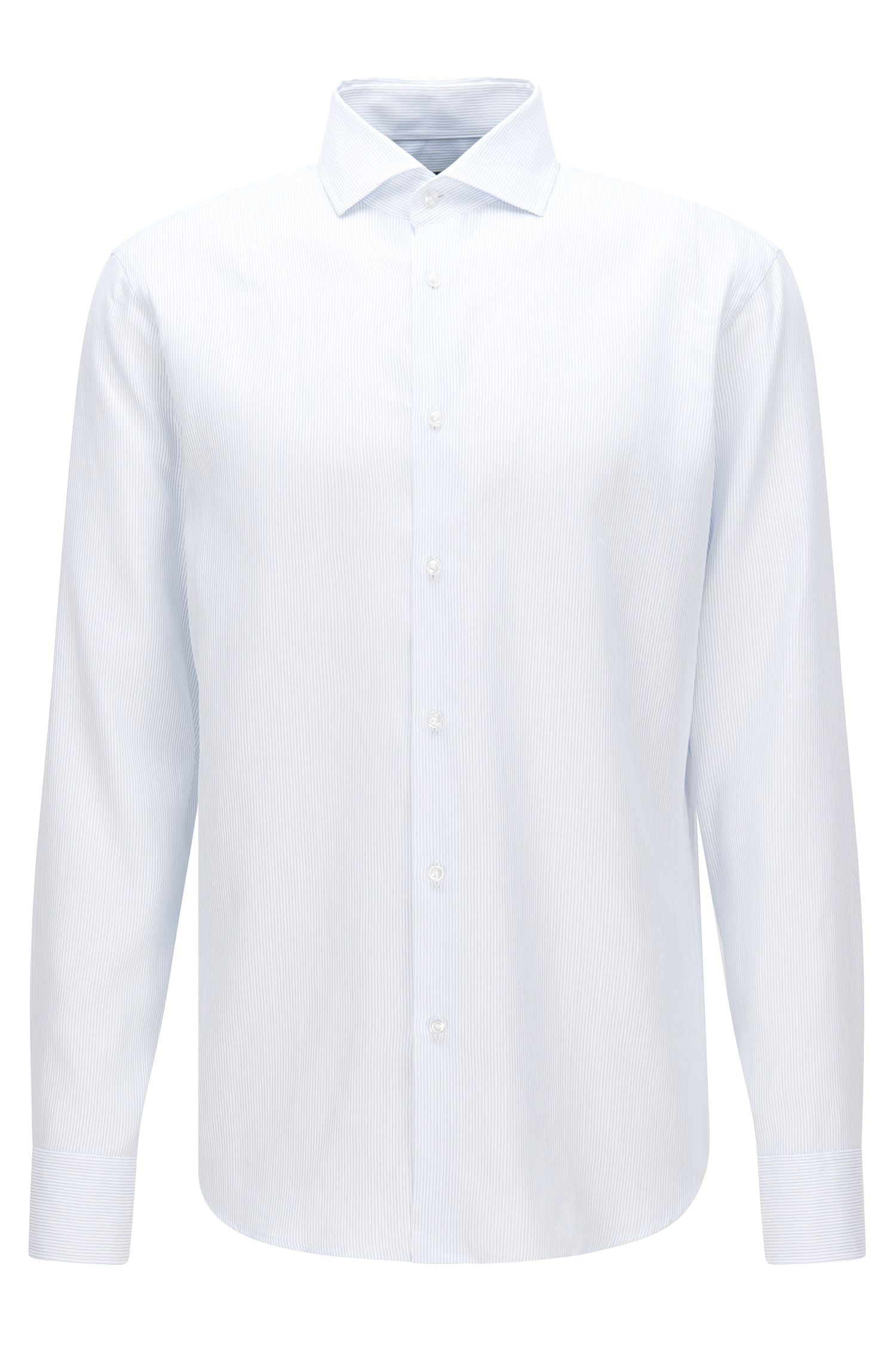 Finely striped regular-fit shirt in cotton blend with linen: 'Gordon'