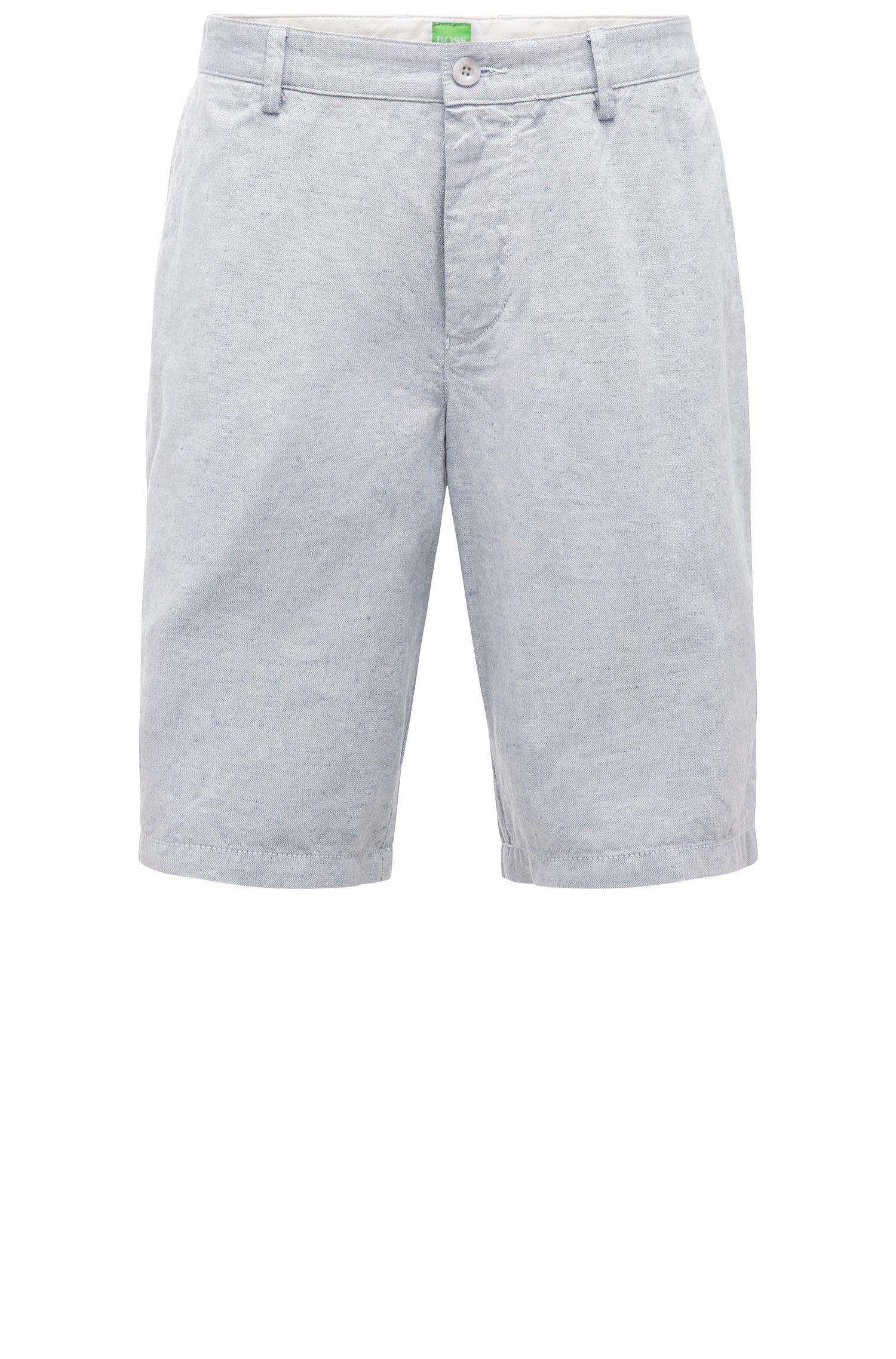 Shorts regular fit en mezcla de algodón con textura y lino: 'C-Clyde2-1-W'