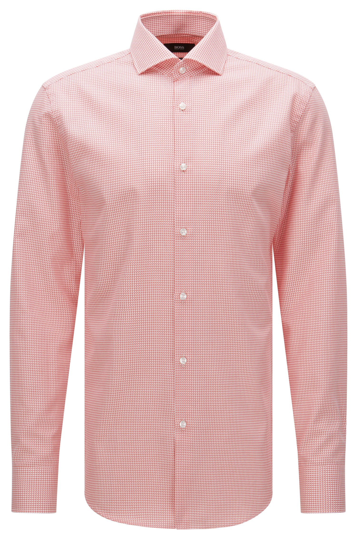 Patterned slim-fit shirt in cotton: 'Jason'