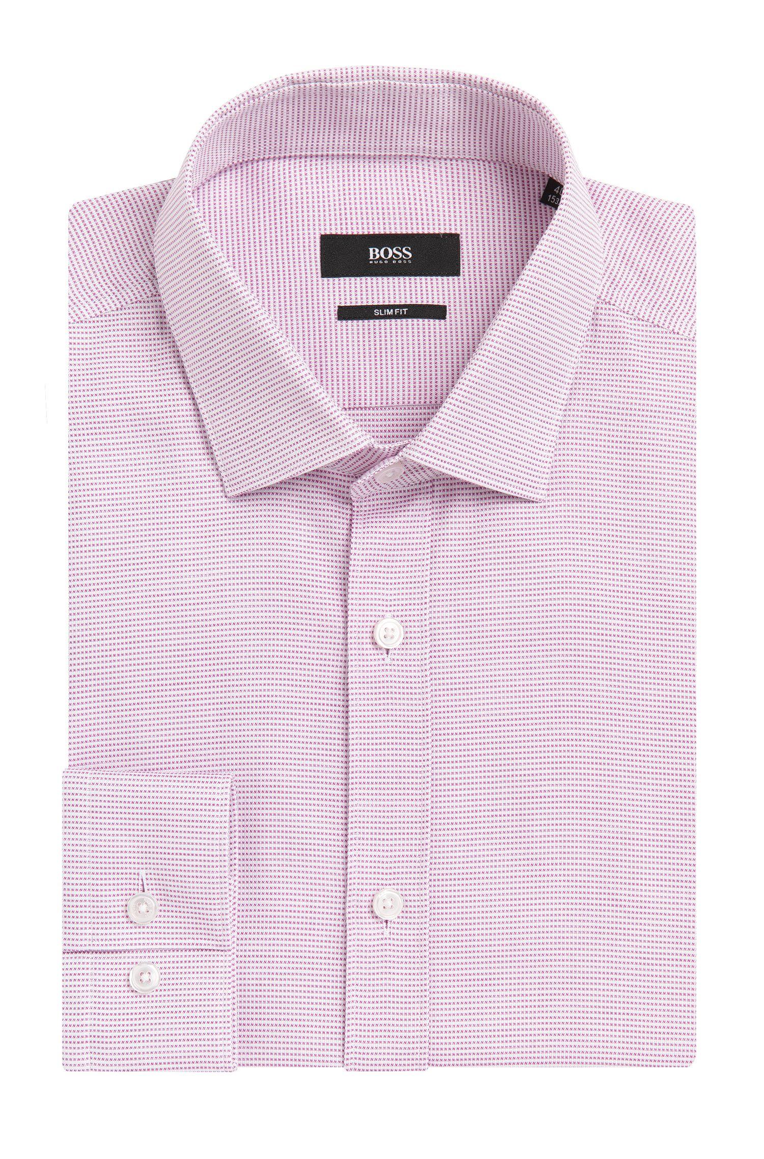 Slim-fit overhemd van katoen met dessin: 'Isaak'