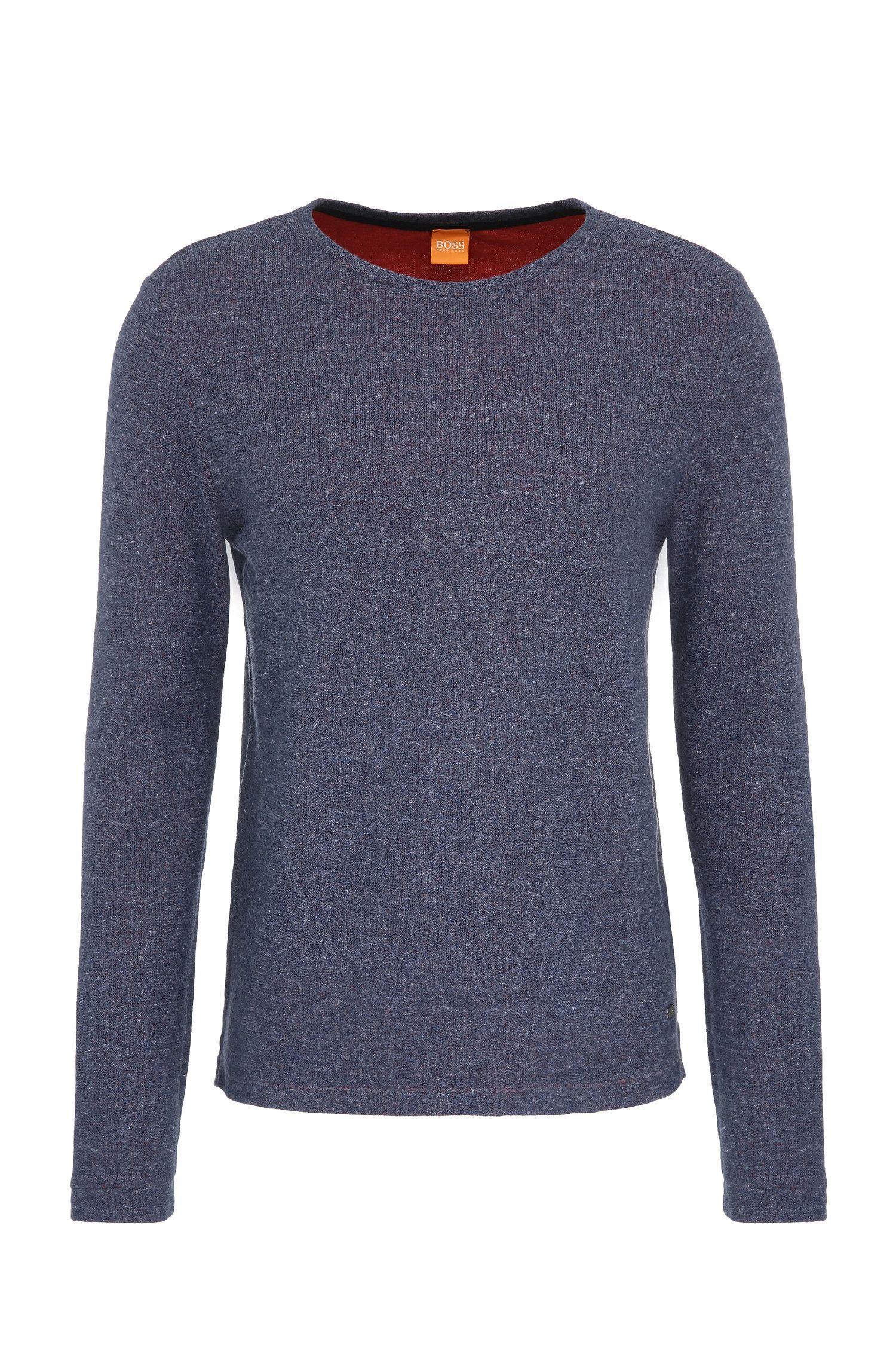 T-shirt Slim Fit à manches longues en coton chiné: «Wanna»