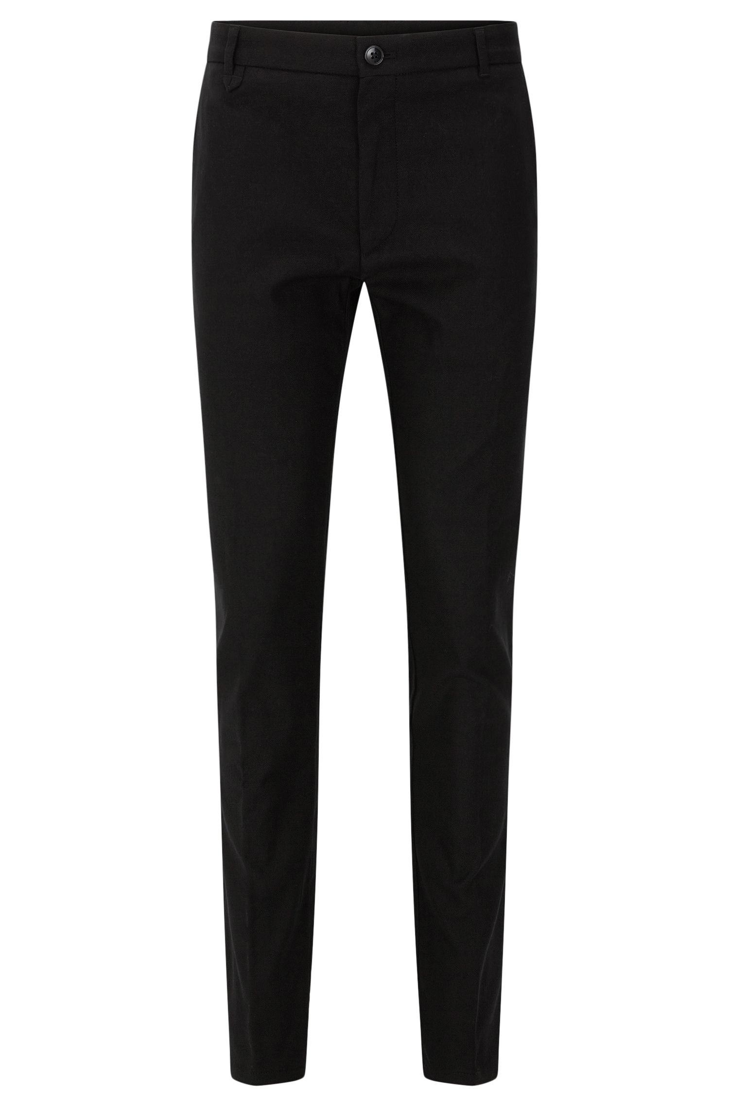 Slim-fit trousers in textured stretch cotton: 'Heldor2'