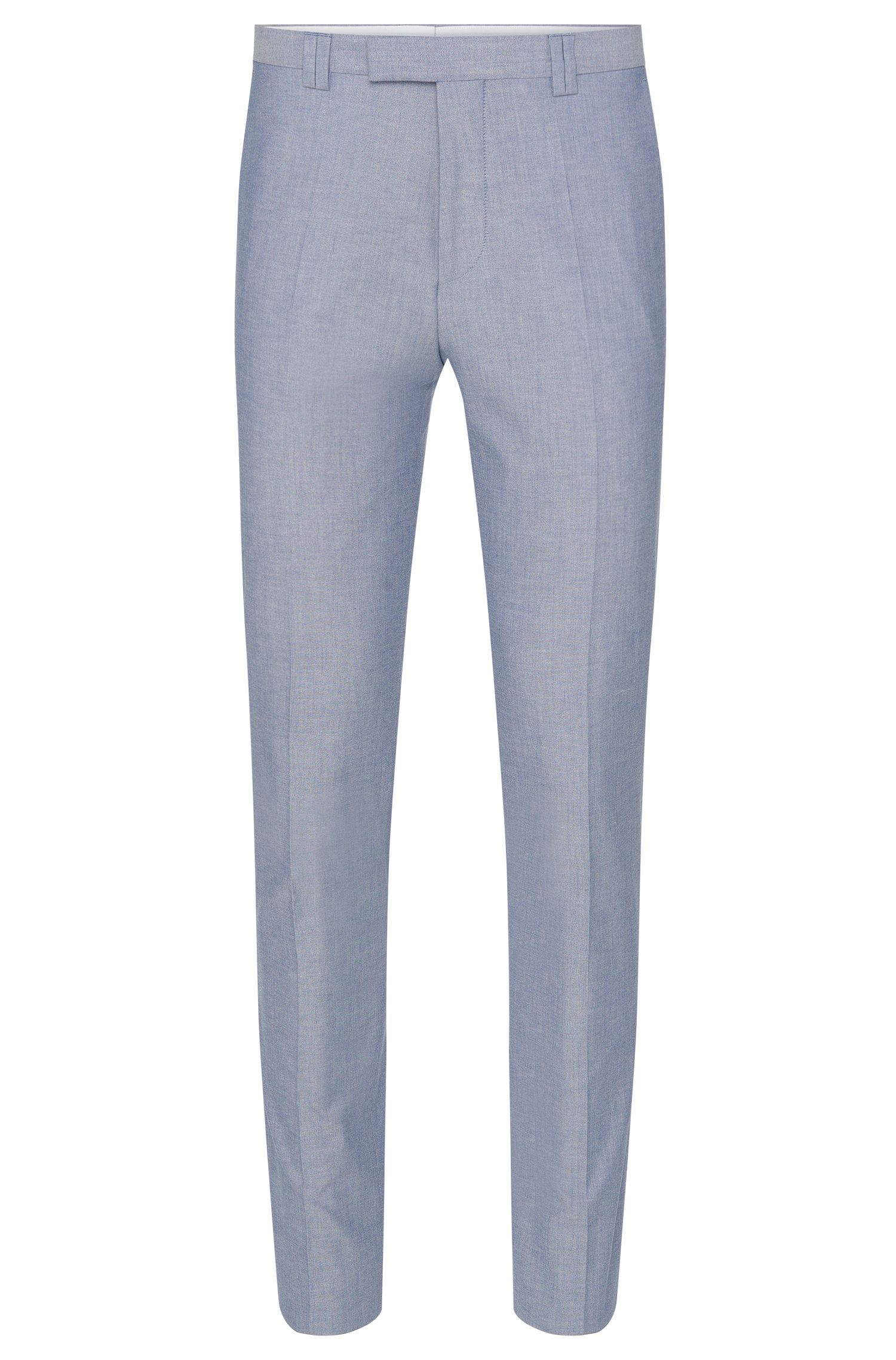 Mottled slim-fit trousers in stretch cotton: 'Heilon'