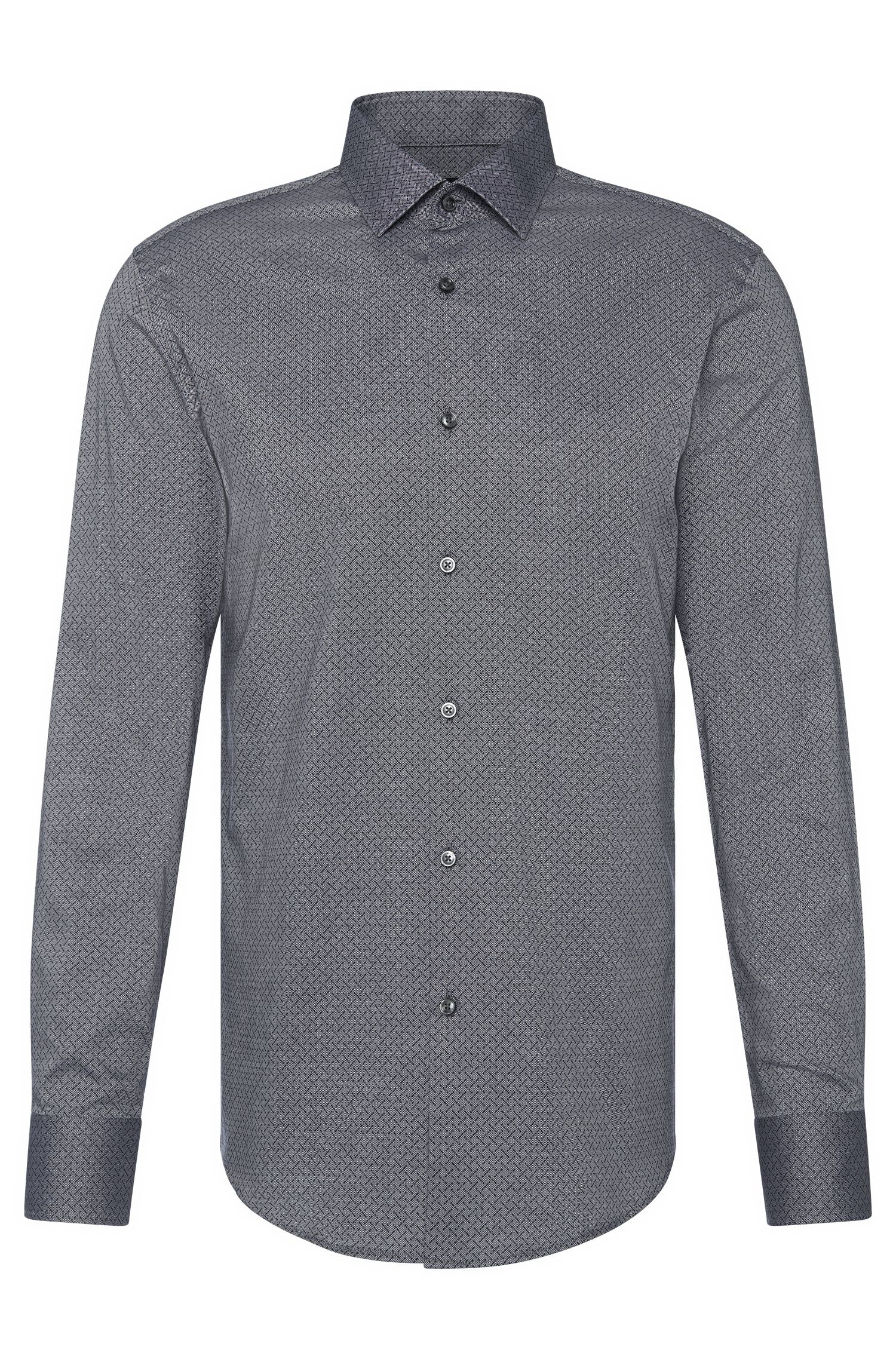 Patterned slim-fit shirt in cotton: 'Jenno'