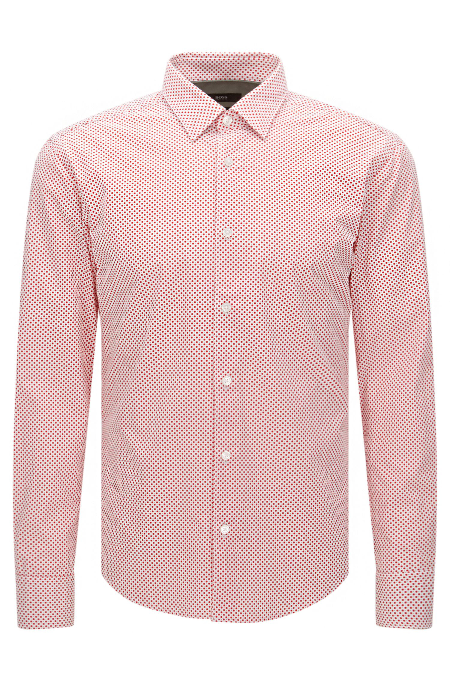 Polka dot pattern slim-fit shirt in cotton: 'Reid_48F'