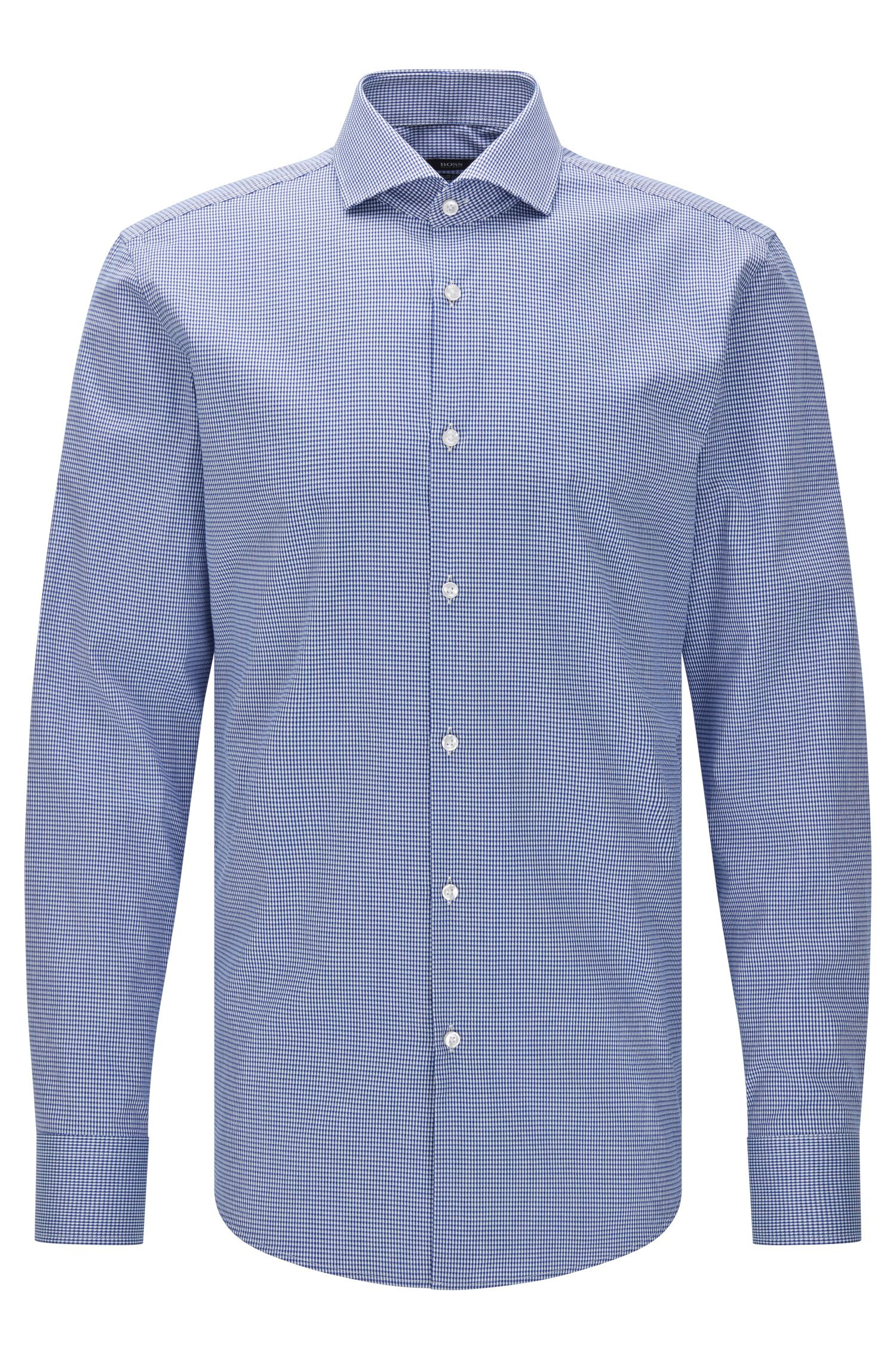 Patterned slim-fit shirt in Egyptian cotton: 'Jason'