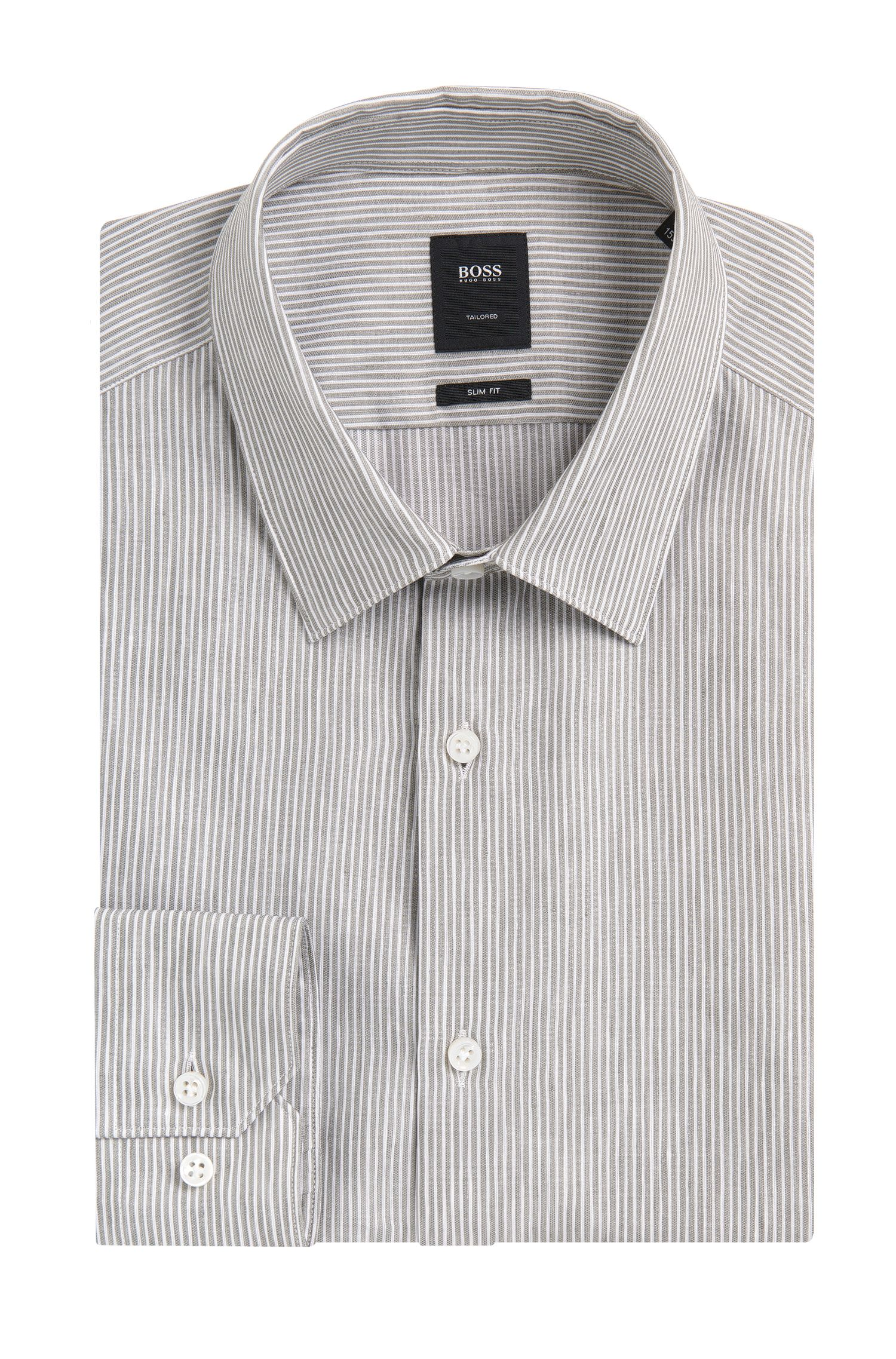Chemise Slim Fit Tailored en lin mélangé à teneur en coton: «T-Clint»