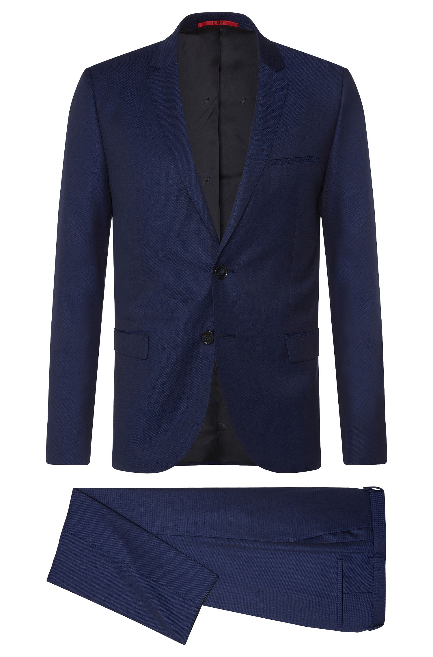 Slim-fit suit in textured new wool: 'Arti/Heilon'