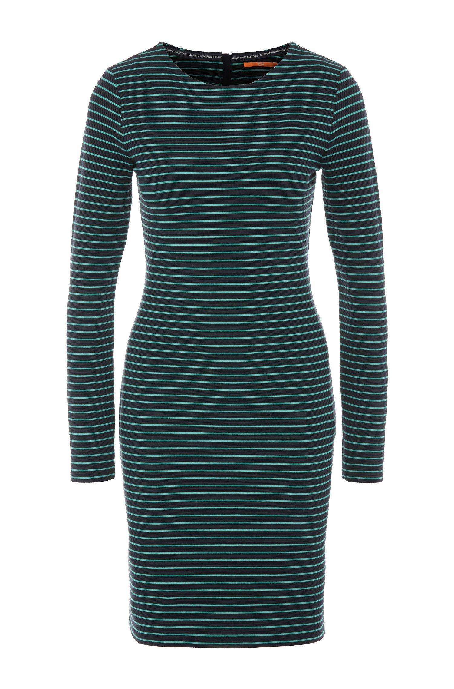 Vestido de punto slim fit a rayas en mezcla de algodón con elastano: 'Damarina'