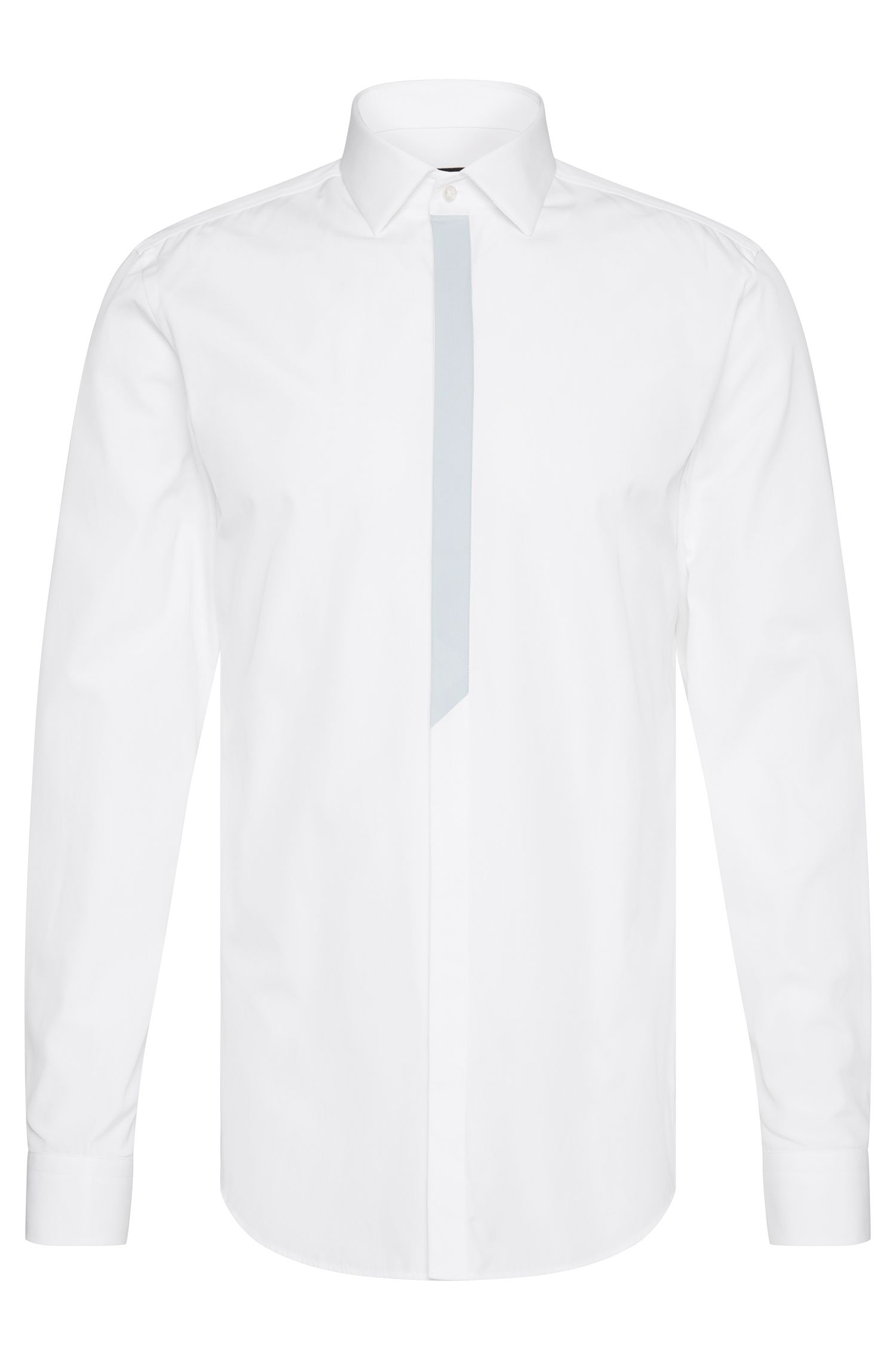 Slim-fit shirt in cotton with button placket in a contrasting colour: 'Icarus'