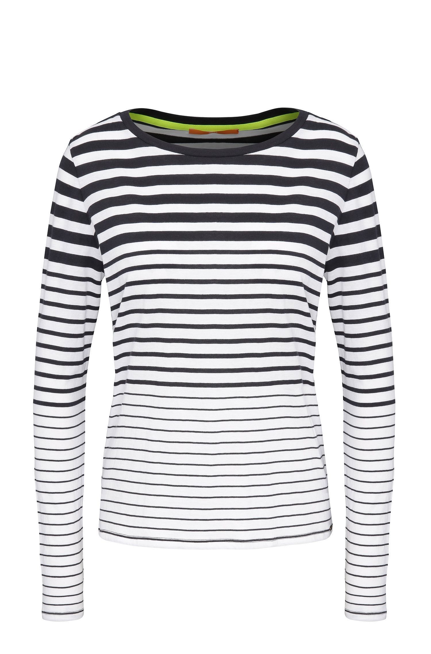 Gestreiftes Slim-Fit Langarmshirt aus Baumwolle: ´Tasquare`